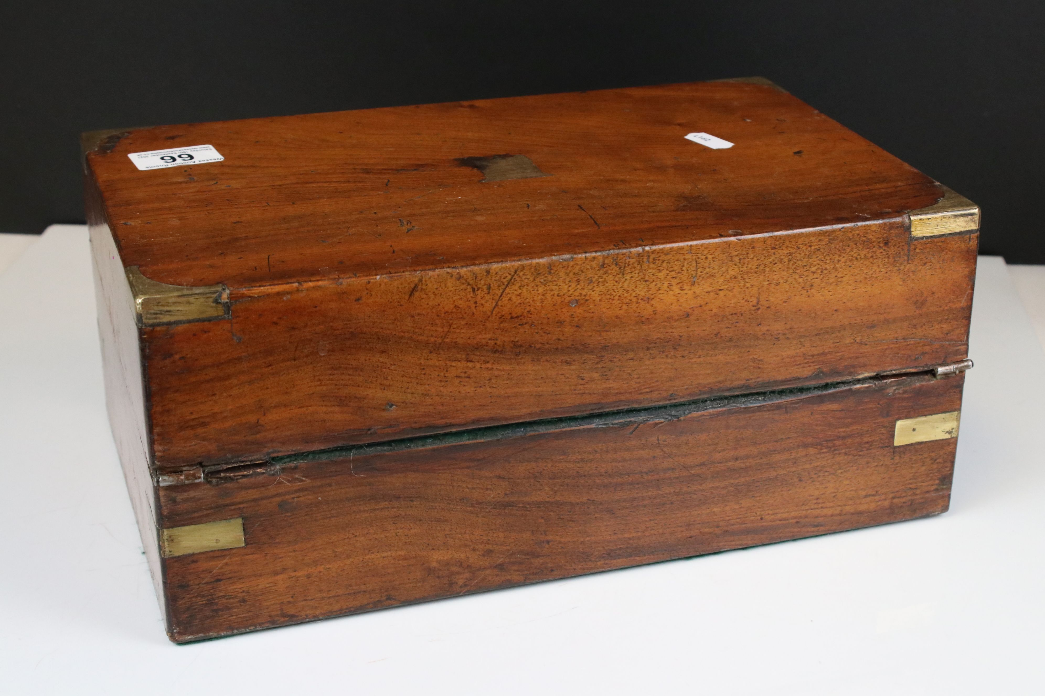 19th century Mahogany and Brass Mounted Writing Slope Box, 35cms wide - Image 4 of 4