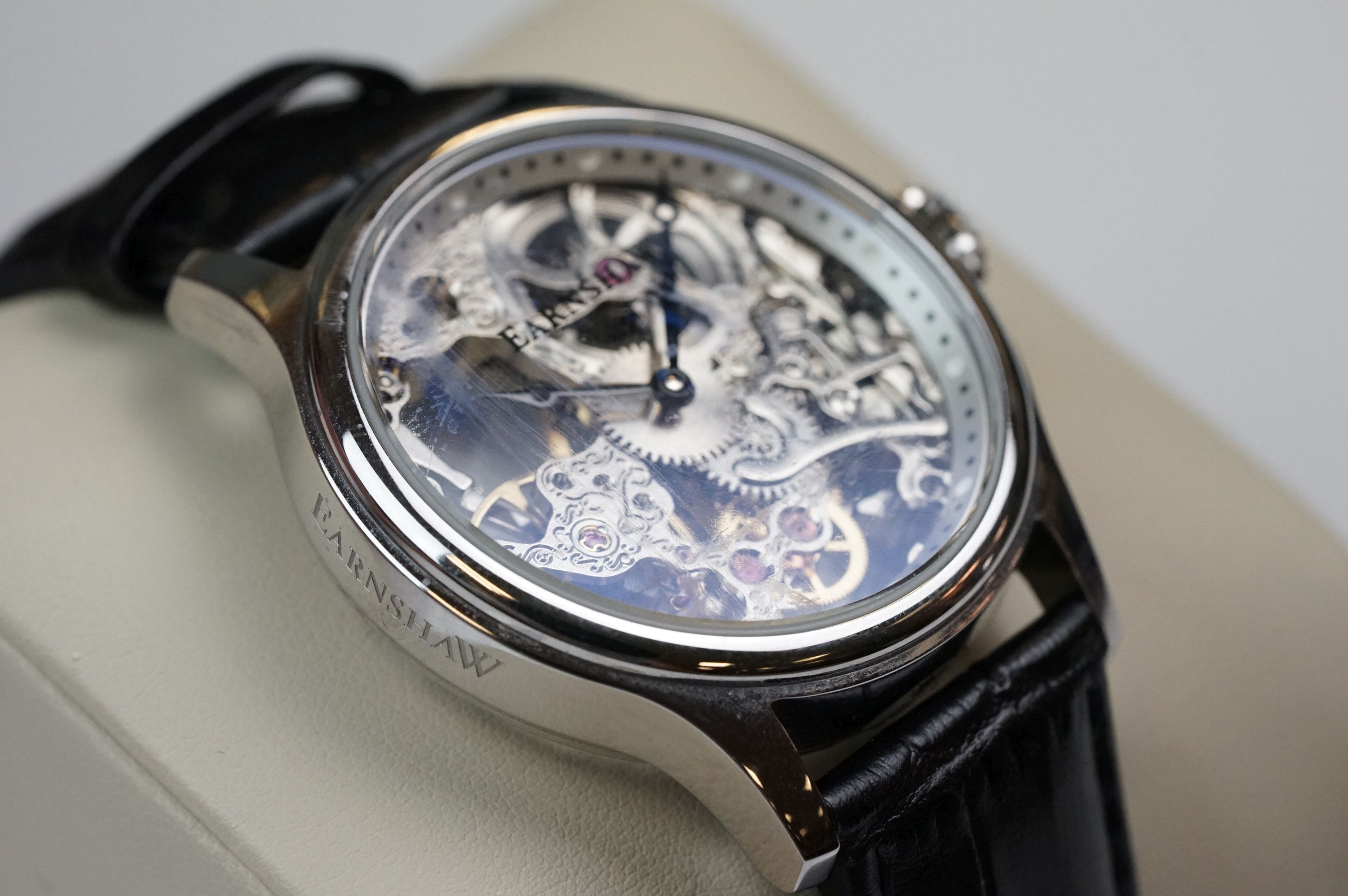Earnshaw Gents wristwatch, skeleton face and dial, WR 5 ATM 8049, together with paperwork, box and - Image 4 of 9