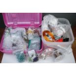 A collection of Jewellery making equipment to include beads, wire, clasps and loops.
