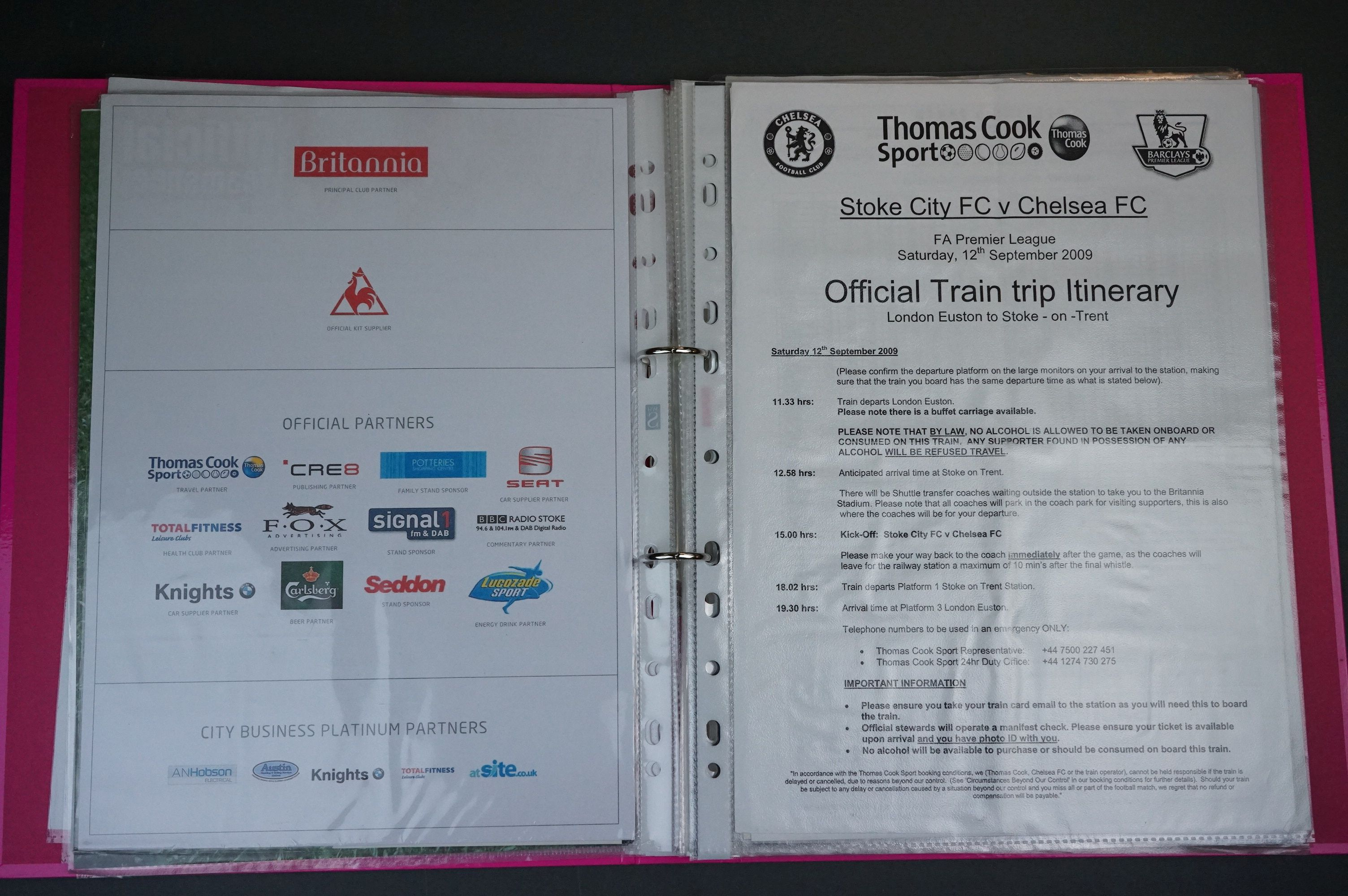 Football - Two binders containing a collection of home and away teamsheets, tickets etc for - Image 5 of 8