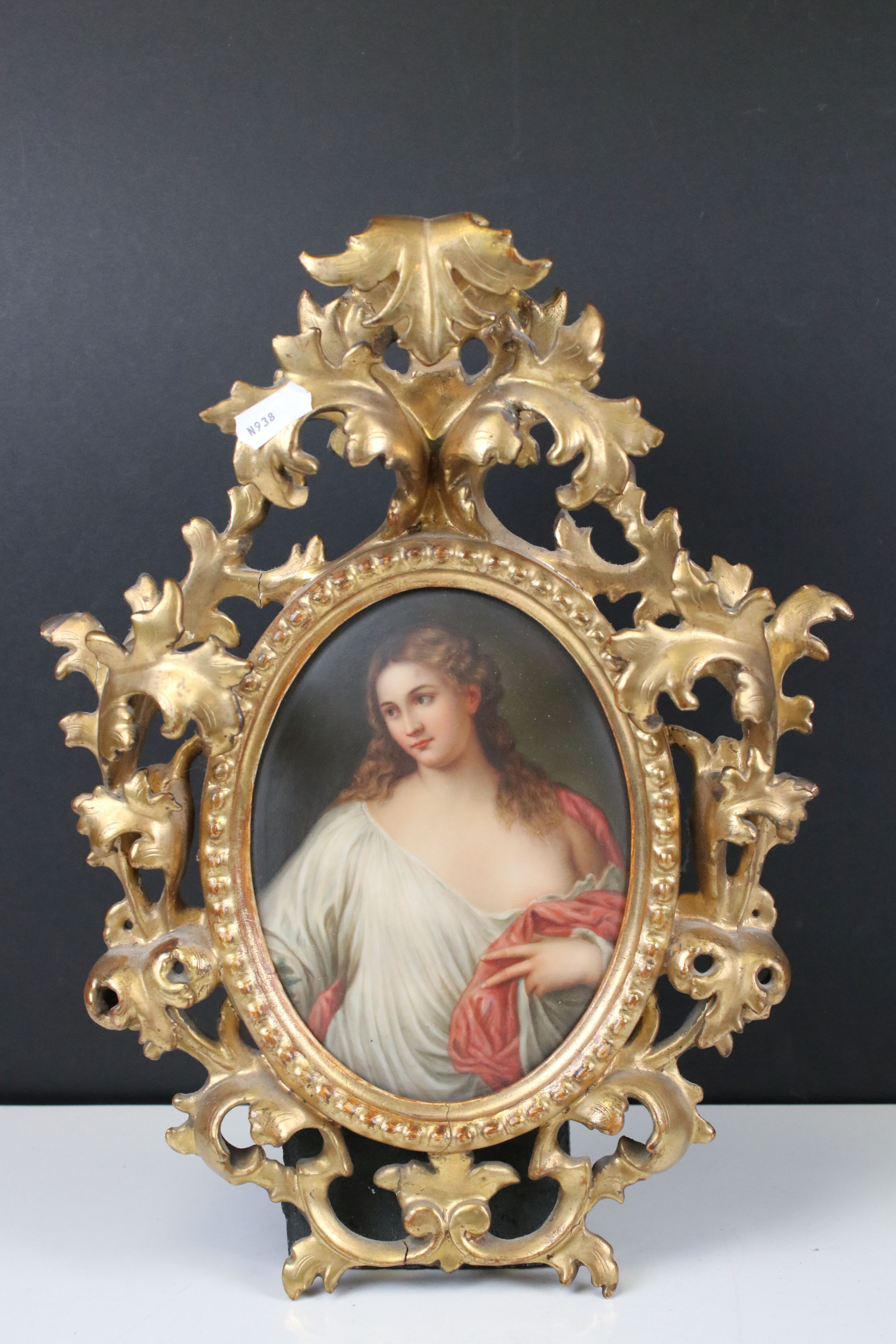 Pair of Late 19th / Early 20th century Oval Ceramic Painted Plaques, one depicting a classical woman - Image 5 of 8