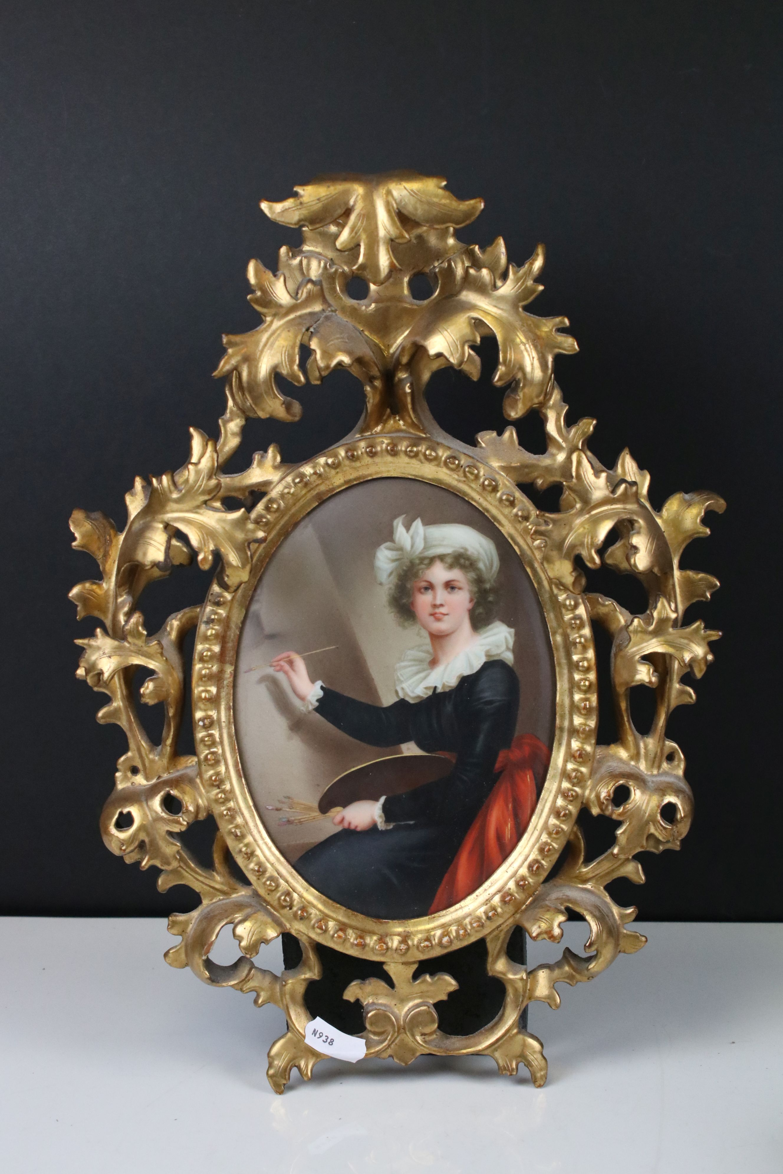 Pair of Late 19th / Early 20th century Oval Ceramic Painted Plaques, one depicting a classical woman - Image 2 of 8