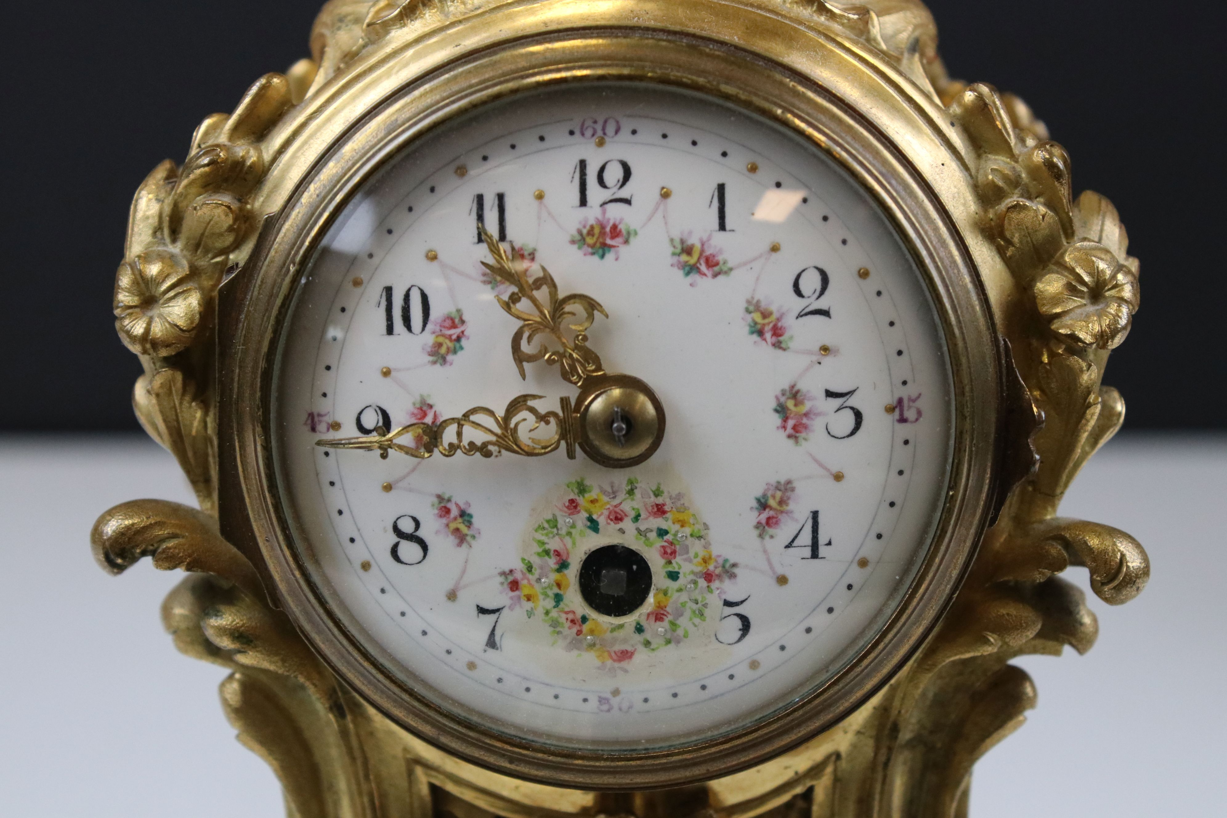 Late 19th century French gilt metal Clock, painted dial in scrolling 18th century style case- gilded - Image 6 of 7