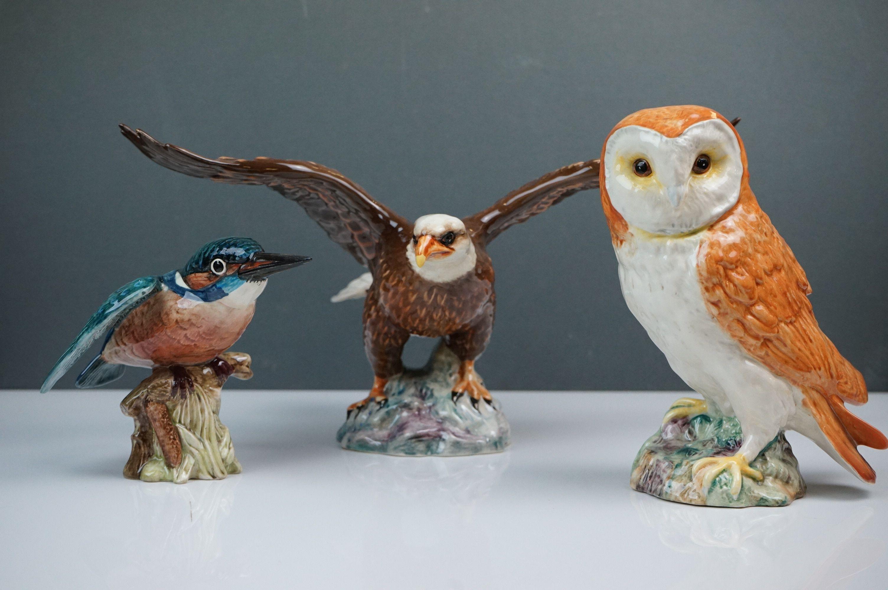 Beswick Eagle on Rock (no. 2307), Beswick Owl (no. 1046a) and Beswick Kingfisher (no. 2371)