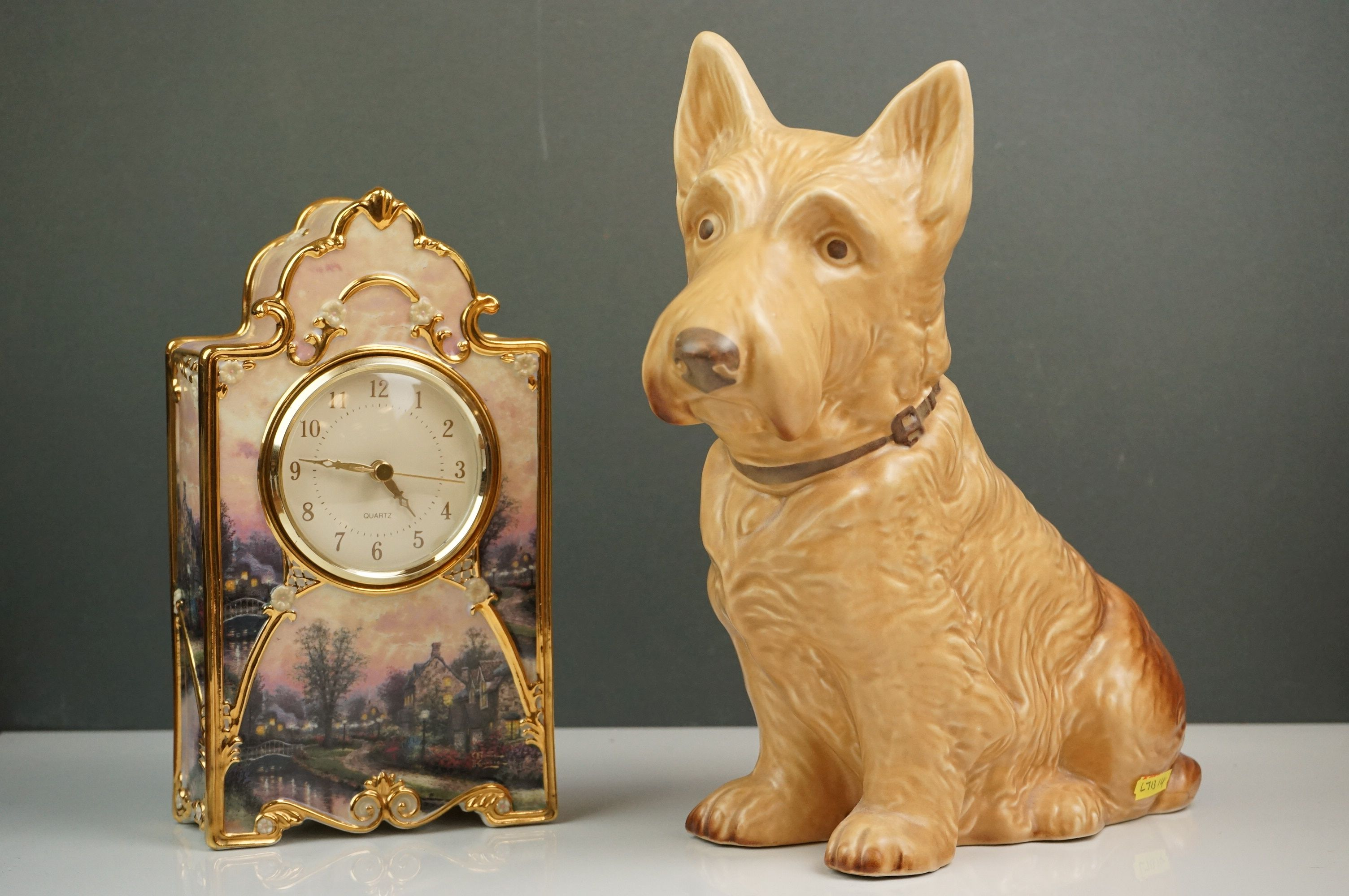 Bradford Exchange Lamplight Lane Heirloom porcelain clock by Thomas Kinkade, issue no. A9321,