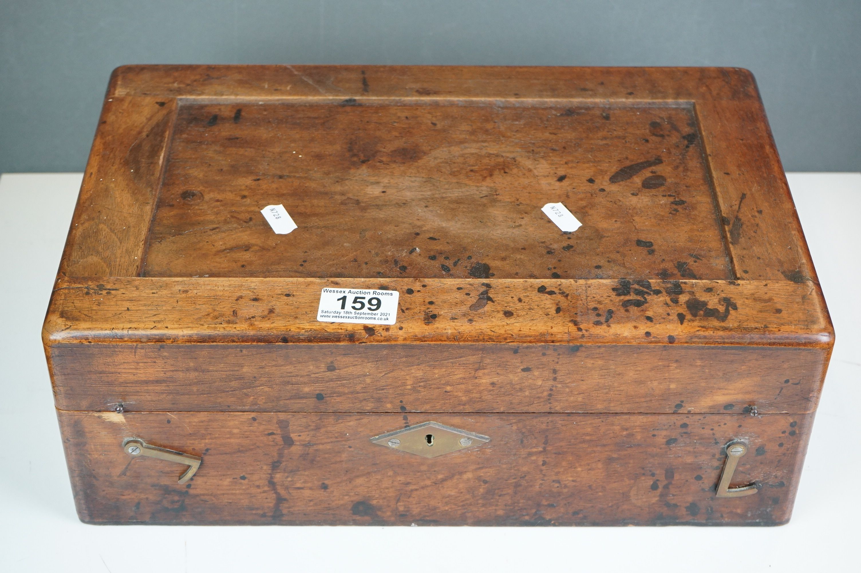 Early 20th century Wooden Watch Repairers Box fitted with various equipment, 38cms long - Image 5 of 5