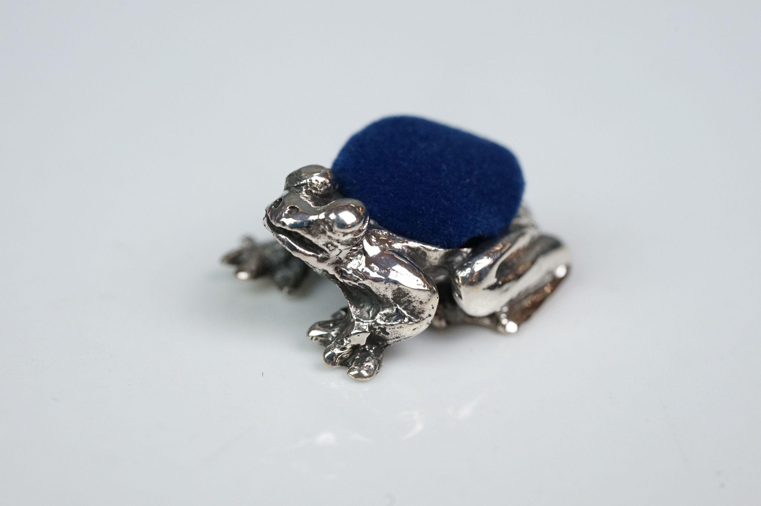 Silver frog pincushion