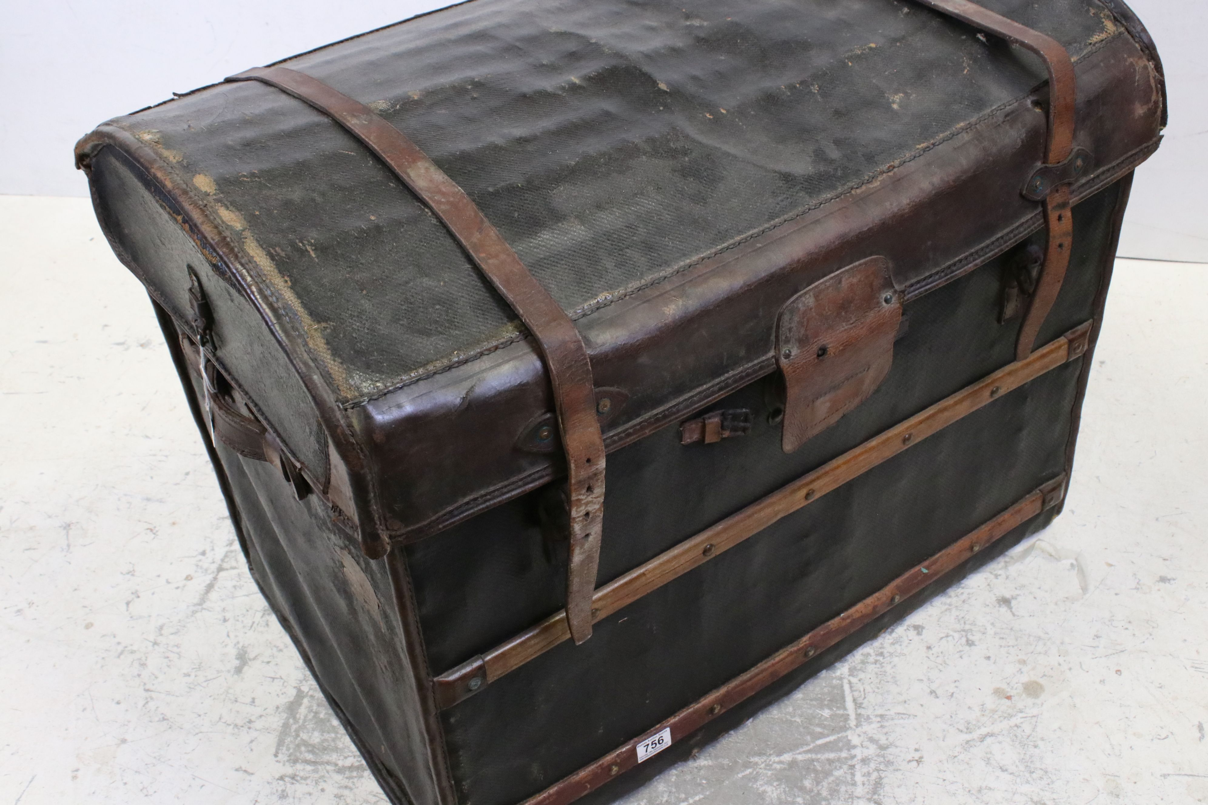 19th century Domed Top Wicker Leather Bound Travelling Trunk with Drop-in Tray, 82cms long x 66cms - Image 7 of 7