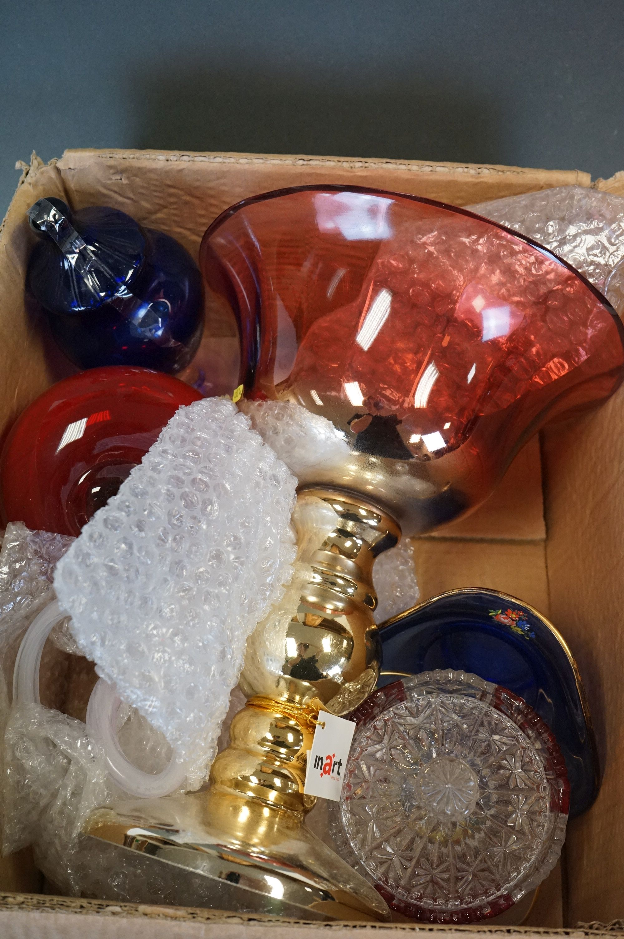 Collection of assorted coloured glassware, to include Italian