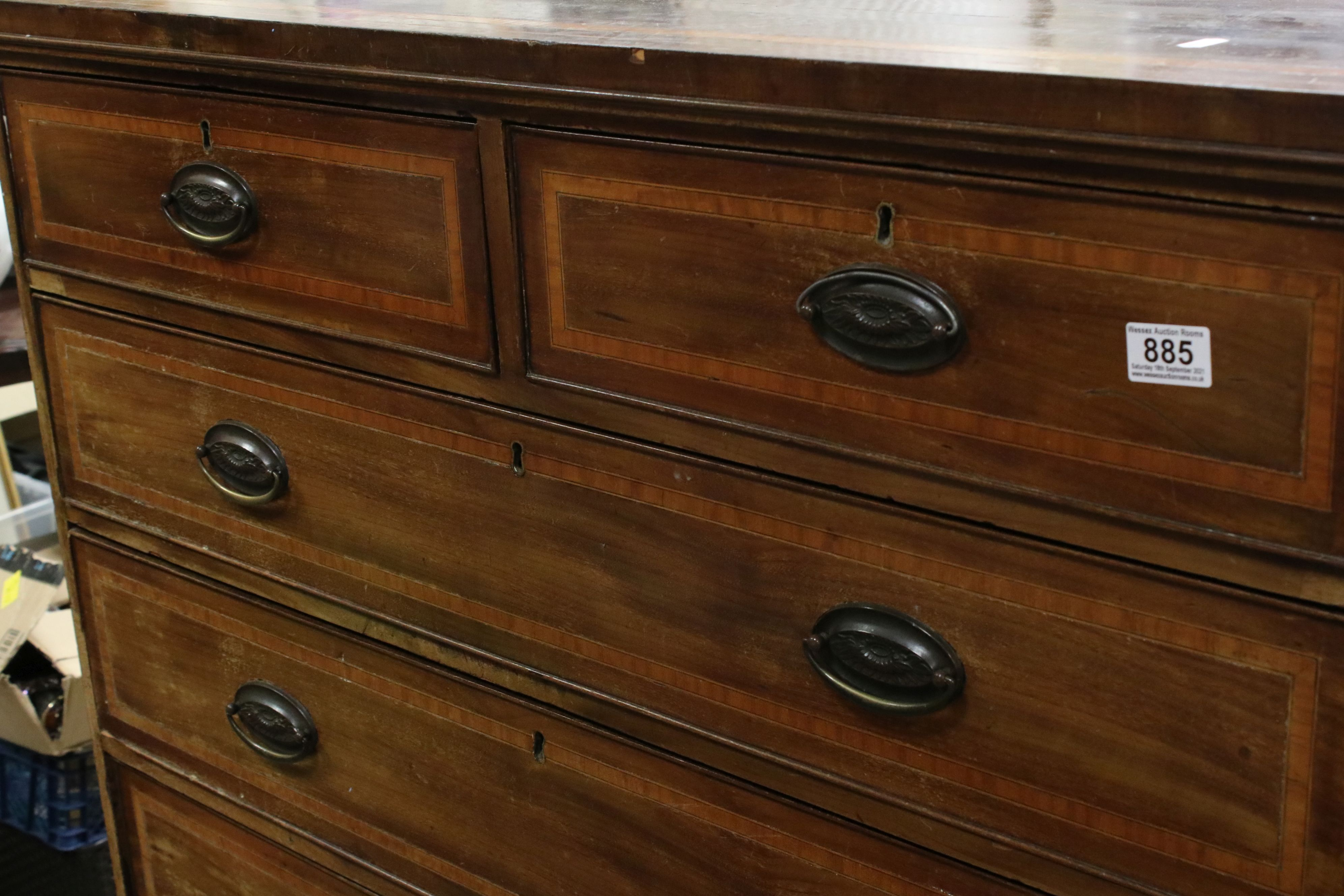 Early 19th century Mahogany Inlaid Chest of Two Short over Three Long Drawers, raised on swept - Image 2 of 5