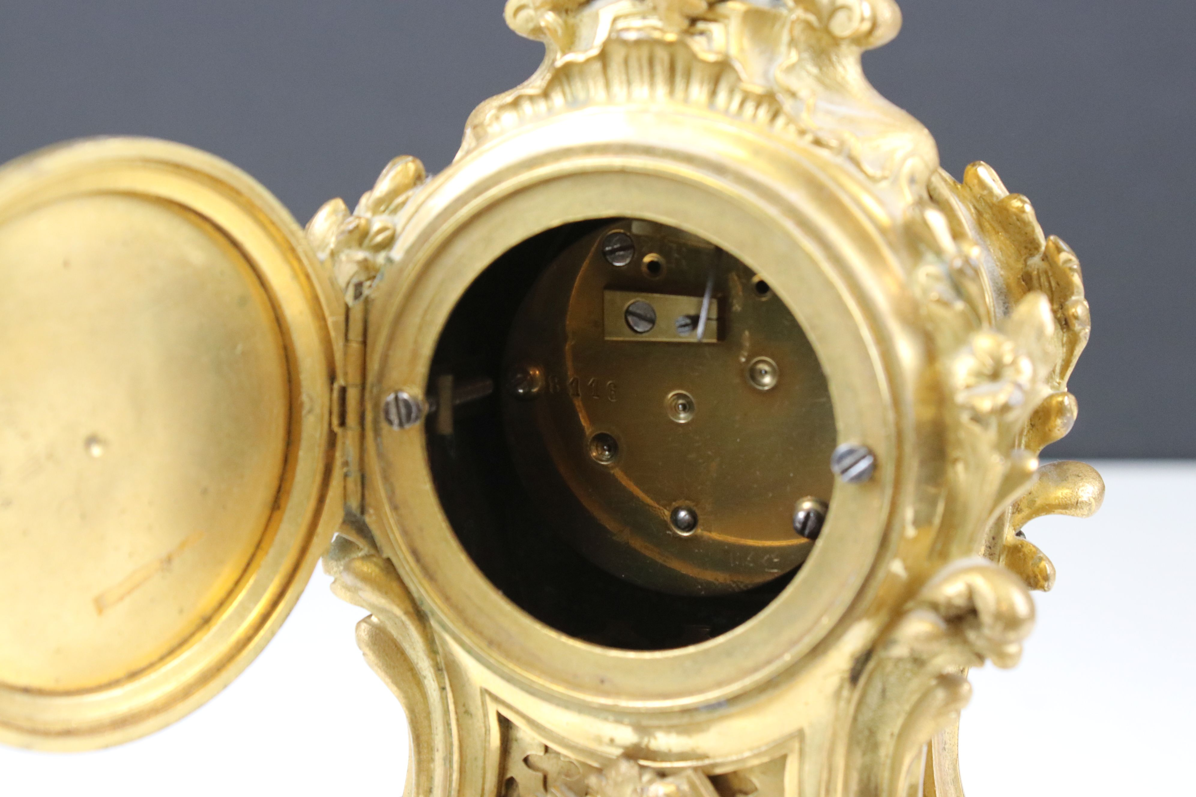 Late 19th century French gilt metal Clock, painted dial in scrolling 18th century style case- gilded - Image 7 of 7