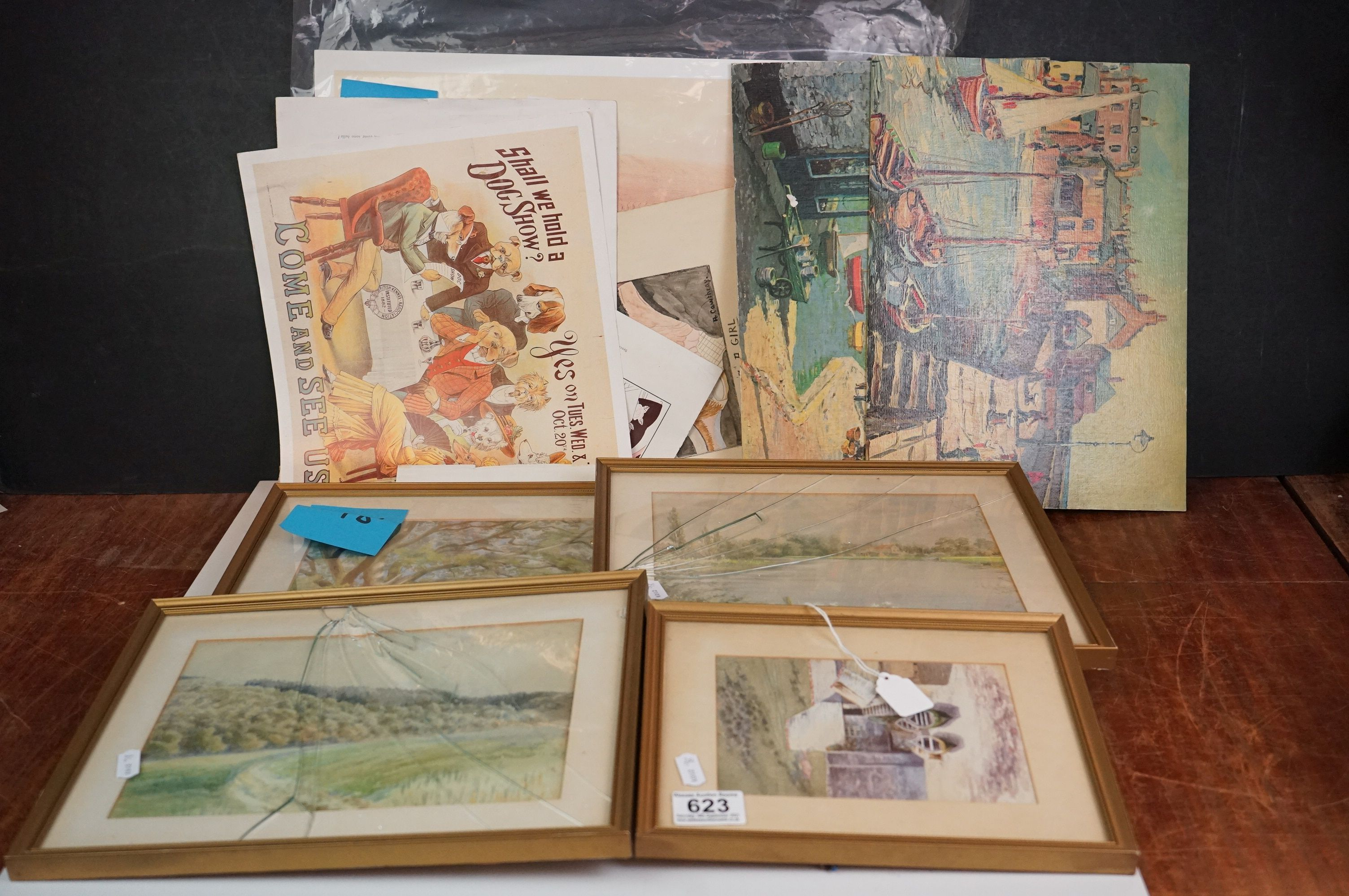 Four Watercolours including Stone Bathhouse, all in matching frames and glazed together with a group