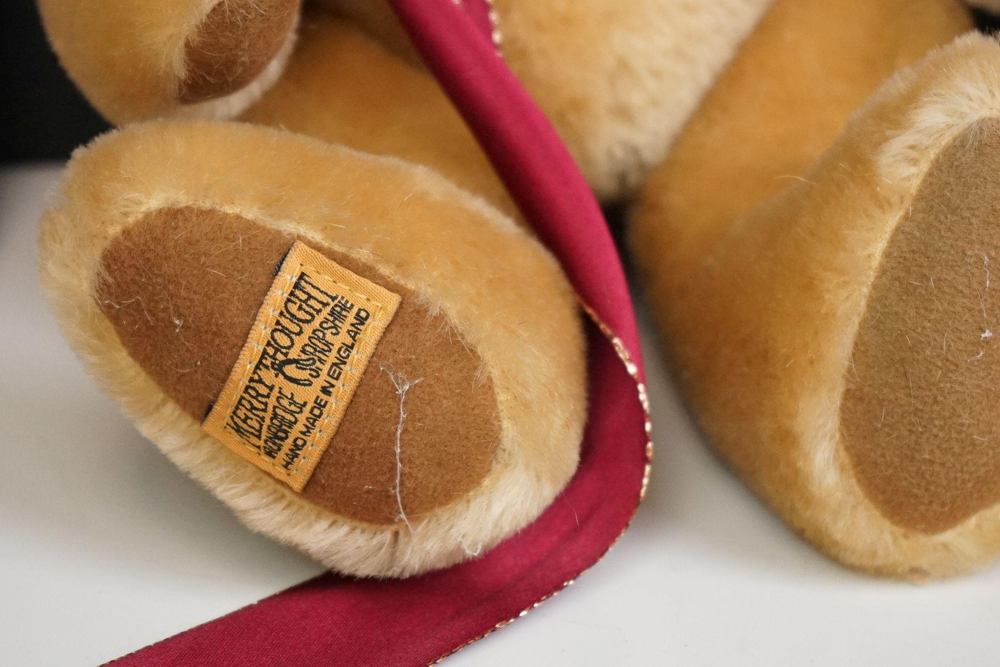 Steiff Teddy Bear, Two Merrythoughts Teddy Bears with Burgundy & Gold Ribbons to neck plus one - Image 6 of 8