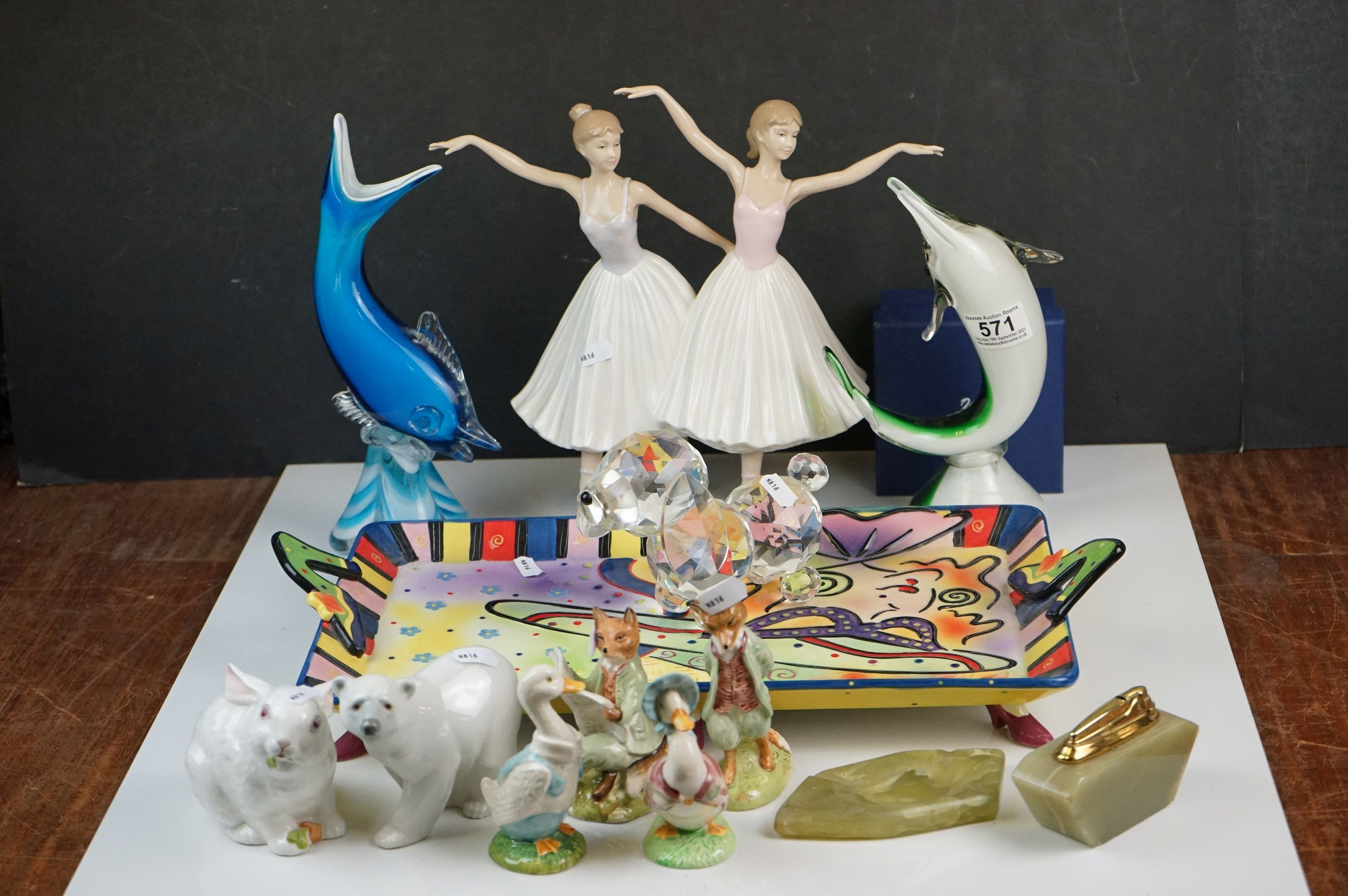 Collection of Ceramics and Glass including Four Beatrix Potter Figures, Aynsley Mr Bunny, Lladro