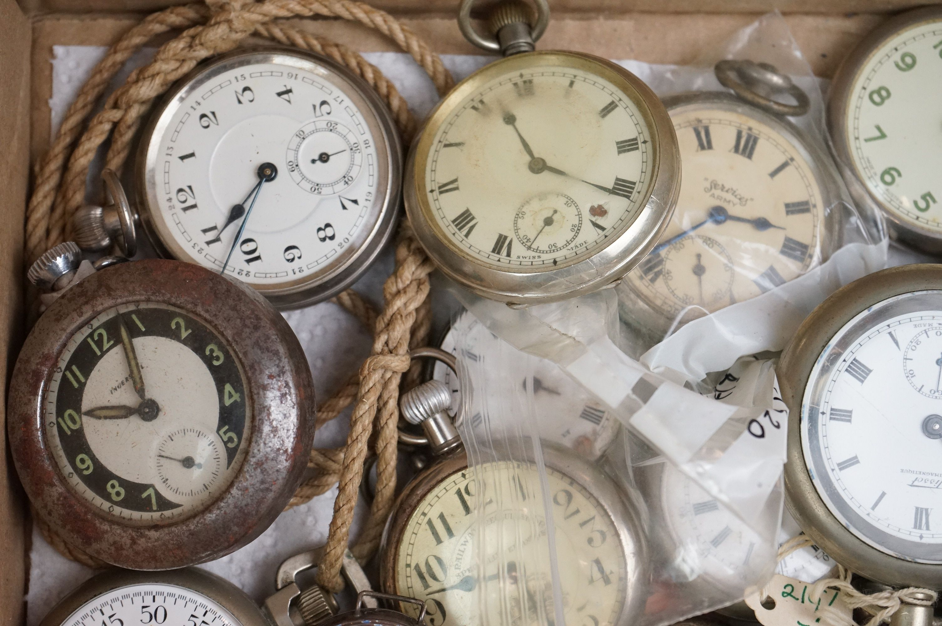 Large collection of white metal, chrome plated and stainless steel pocket watches to include Tissot, - Image 2 of 5
