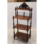 Victorian Walnut Four Tier Whatnot with mirrored back and turned supports, 45cms wide x 130cms high