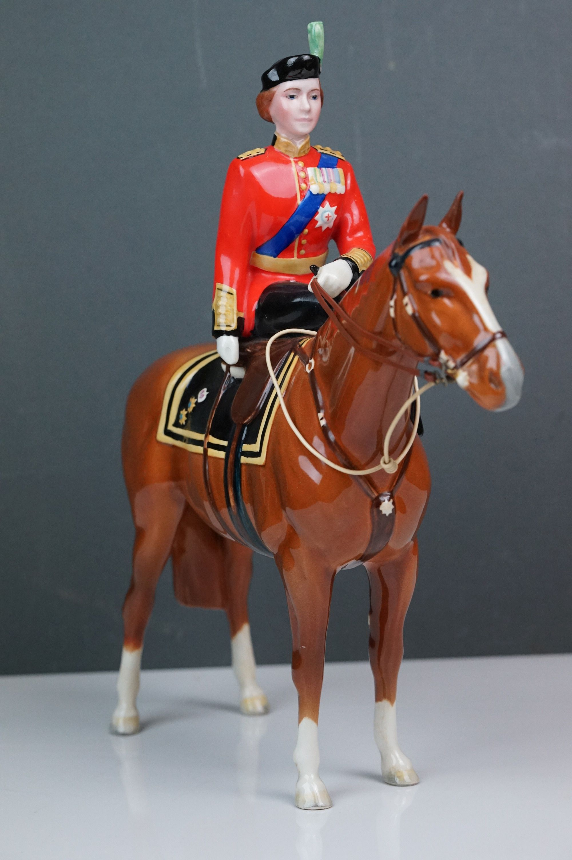 Beswick HM Queen Elizabeth II mounted on Imperial, Trooping the Colour 1957, model no. 1546 H26.5cm - Image 2 of 8