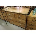 Victorian Pine Chest of Two Short over Two Long Drawers, raised on ball feet, 90cms wide x 83cms