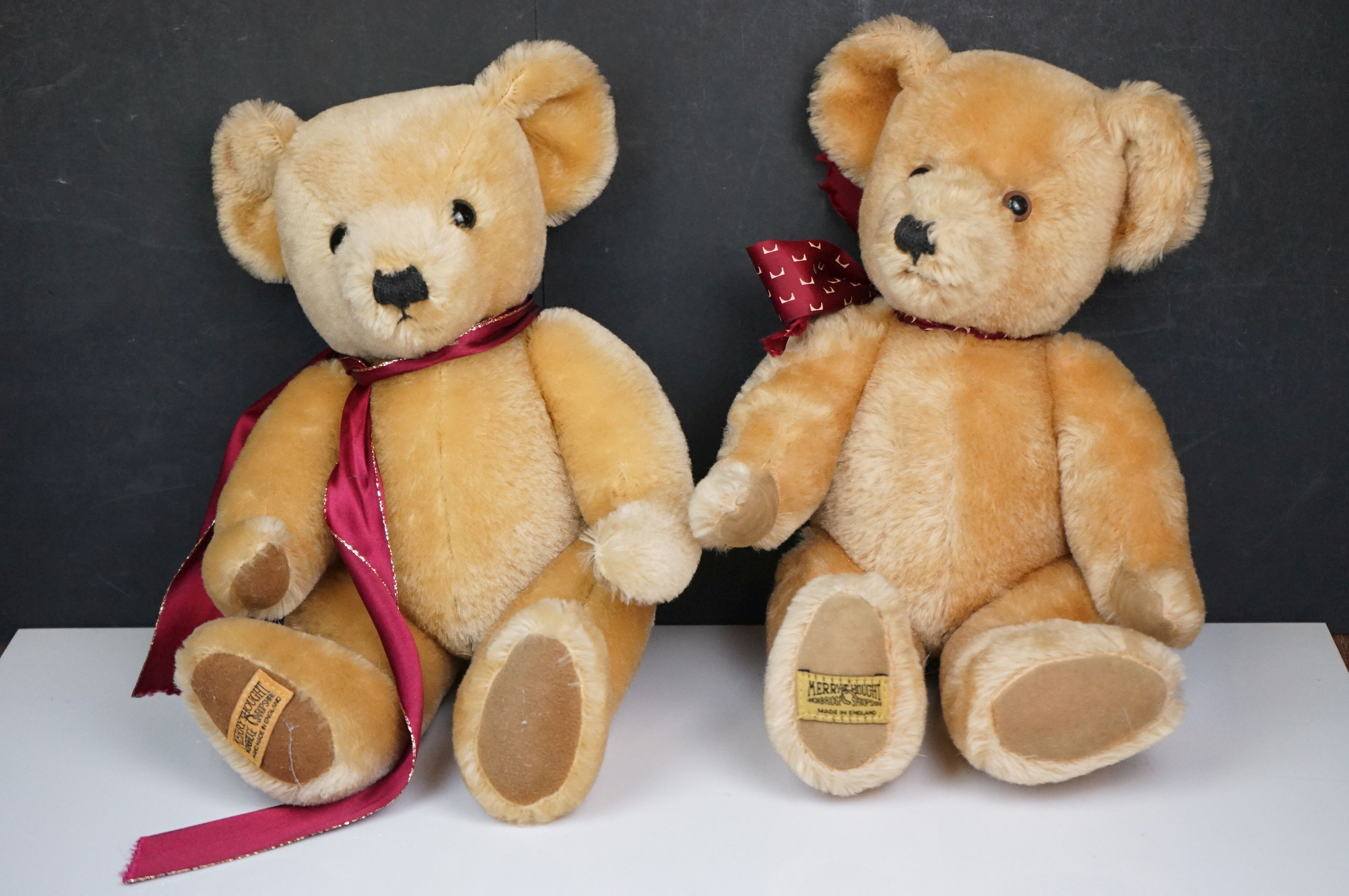 Steiff Teddy Bear, Two Merrythoughts Teddy Bears with Burgundy & Gold Ribbons to neck plus one - Image 4 of 8