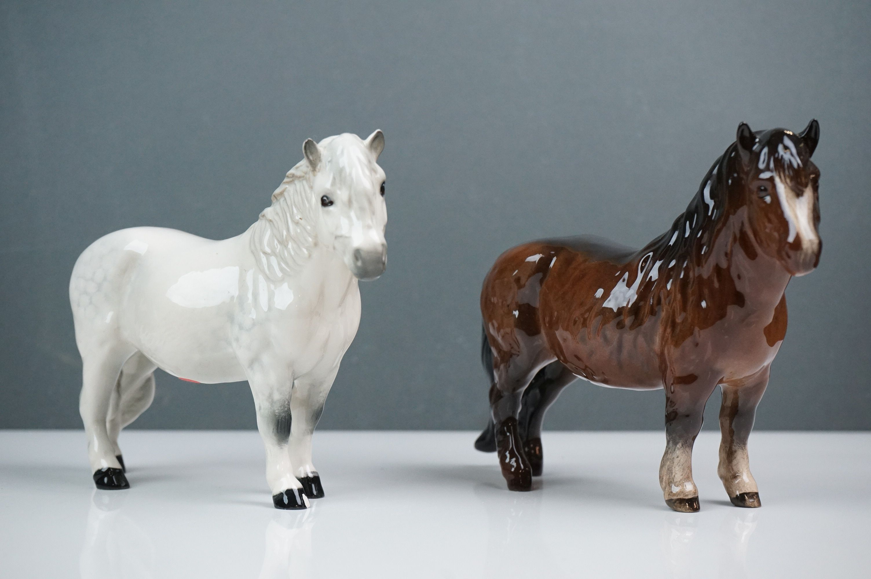 Two Beswick Woolly Shetland Mare Ponies (no. 1033) in Brown and Dapple Grey