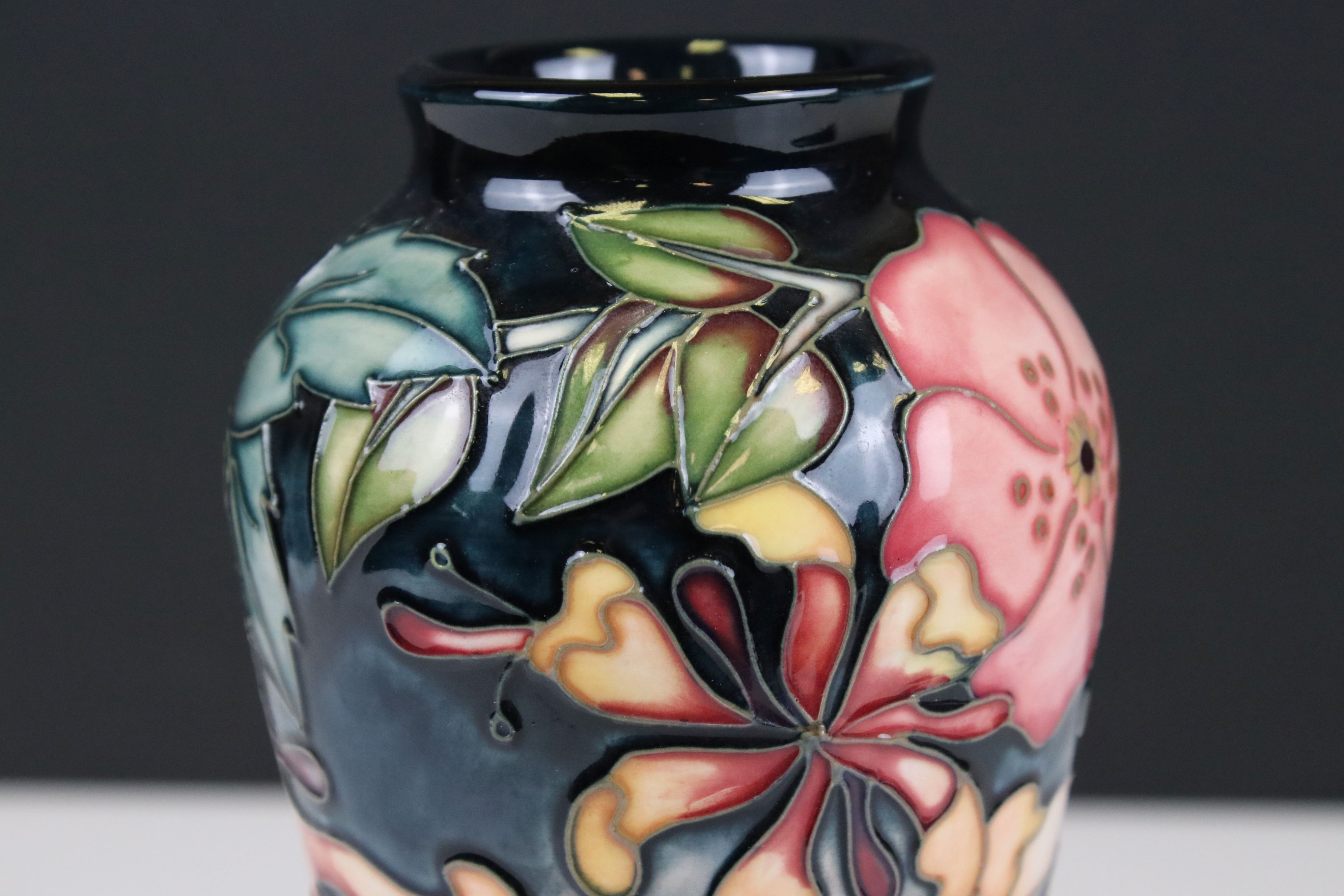 Moorcroft Vase in the Oberon pattern, impressed pink marks to base and signed WM, 21cms high - Image 4 of 6