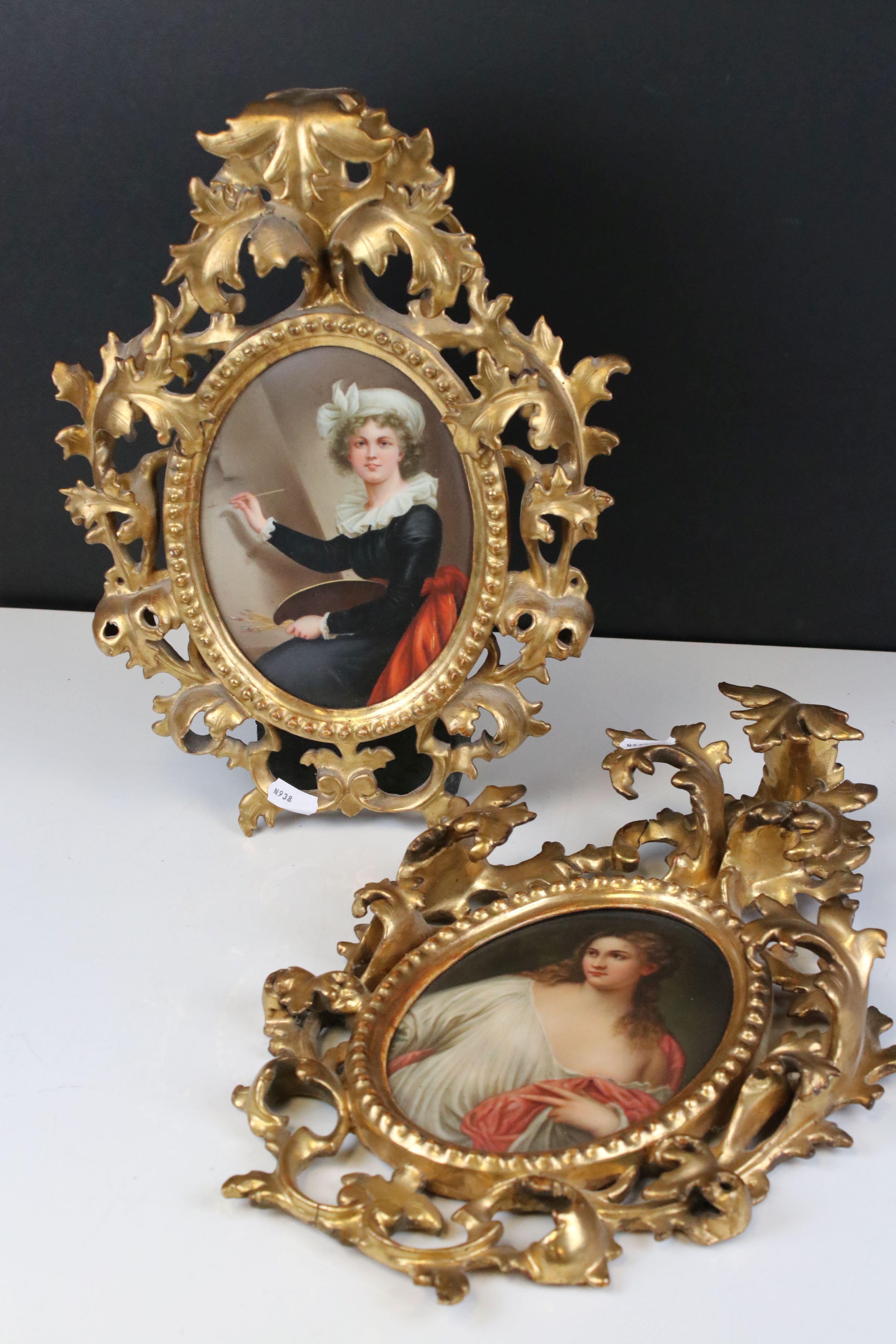 Pair of Late 19th / Early 20th century Oval Ceramic Painted Plaques, one depicting a classical woman