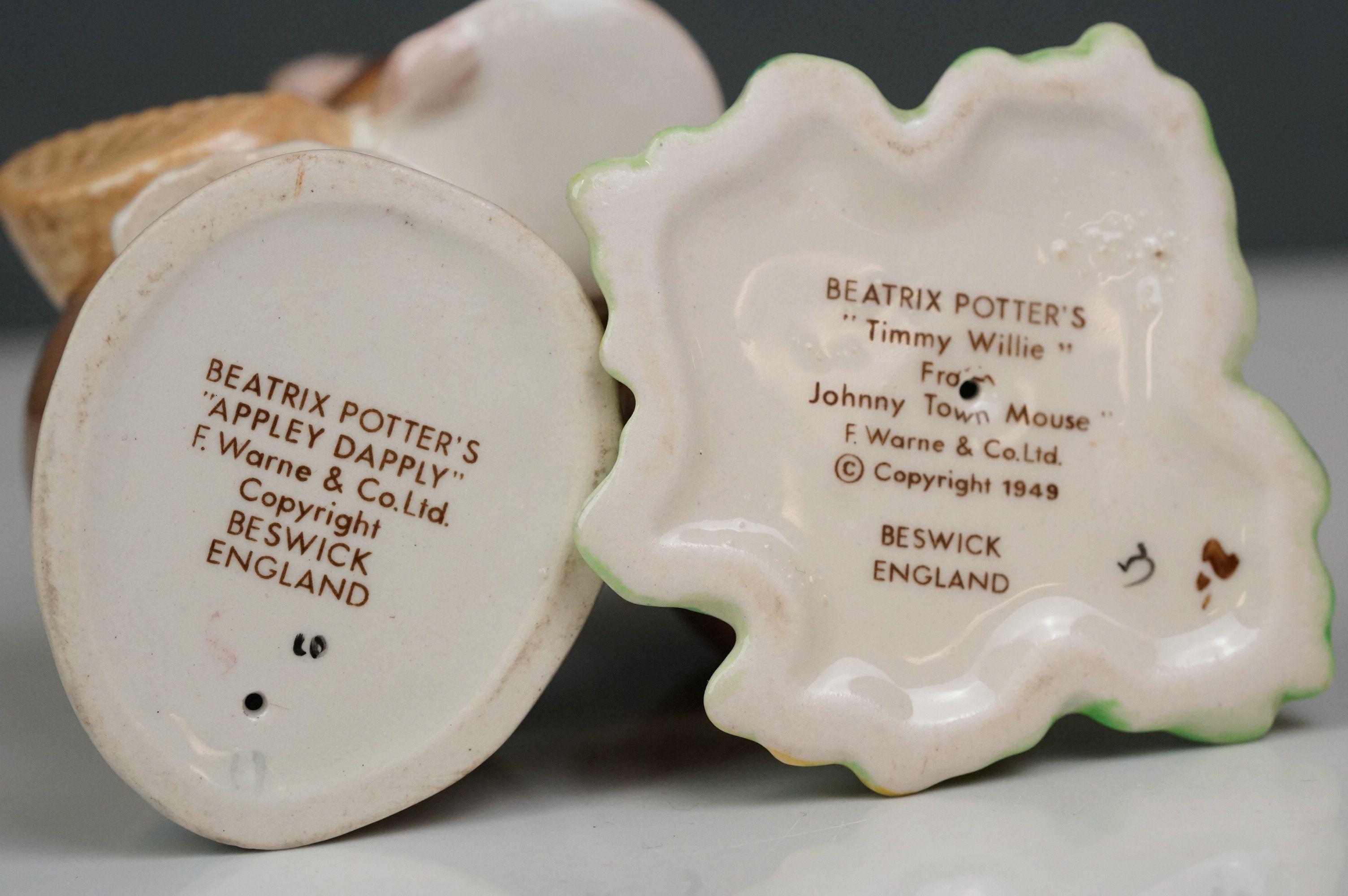Eight Beswick Beatrix Potter figures comprising Appley Dapply; Timmy Willie; Peter Rabbit; Samuel - Image 4 of 13