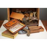 A box of mixed collectables to include antique chess pieces, coins, badges, boxes and vintage