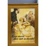 Large gilt framed poster inscribed 'Keep mum she's not so dumb! Careless Talk Costs Lives'