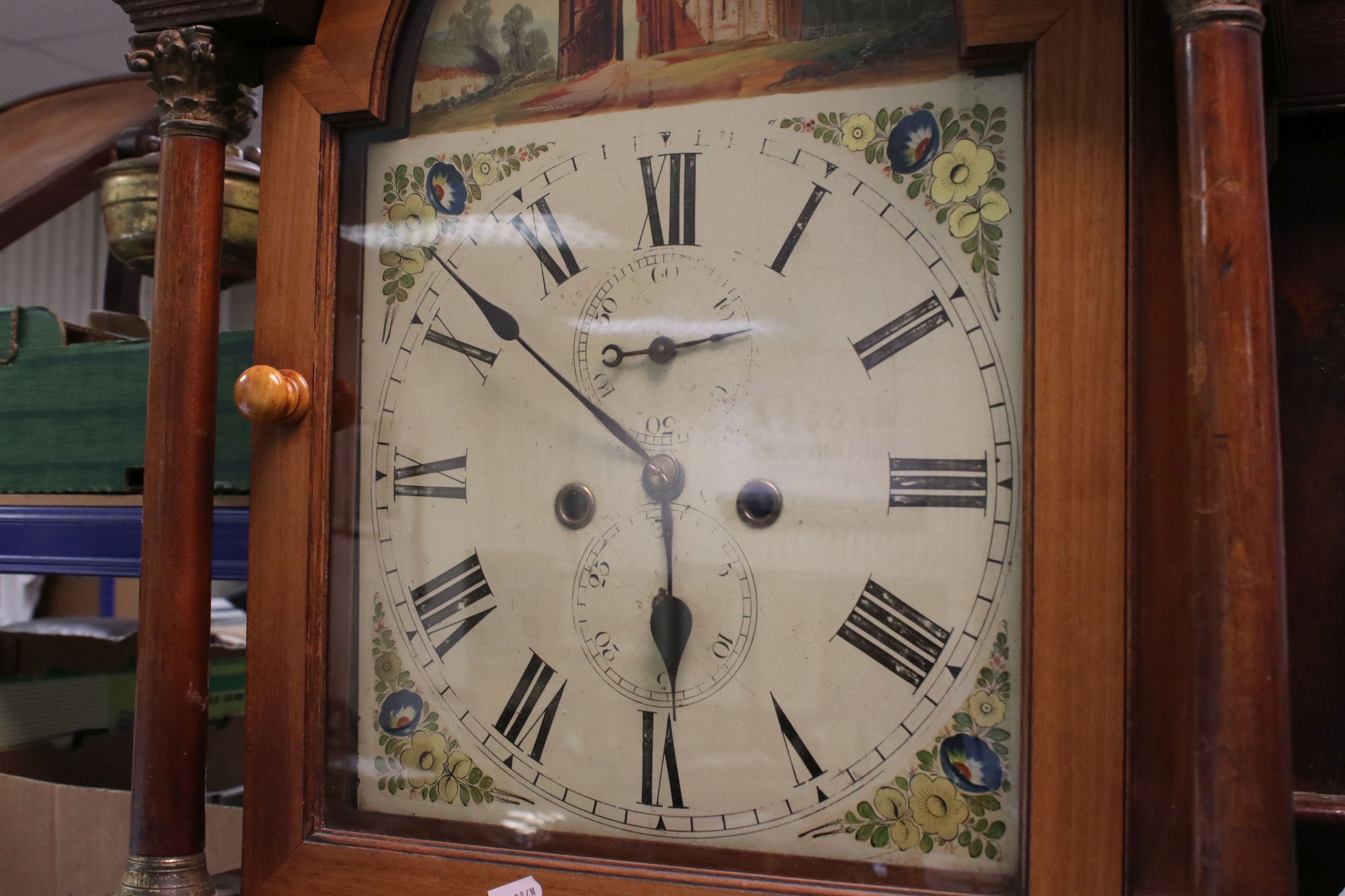 19th century Mahogany 8 day Longcase Clock, the arched dial painted with the scene of a Folly, the - Image 2 of 5