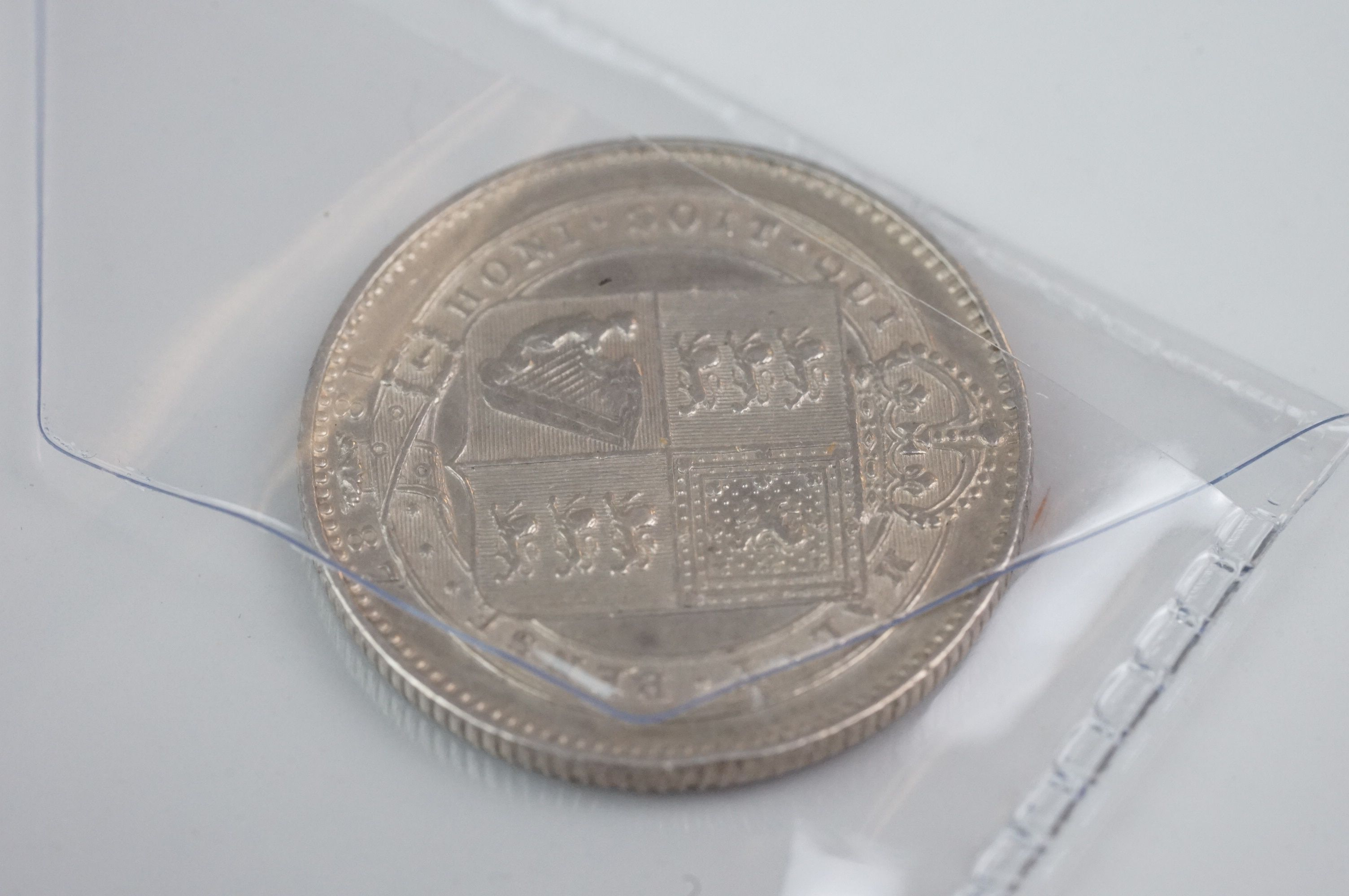 A collection of five Victorian silver coins to include two double florins, two florins and a - Image 10 of 11