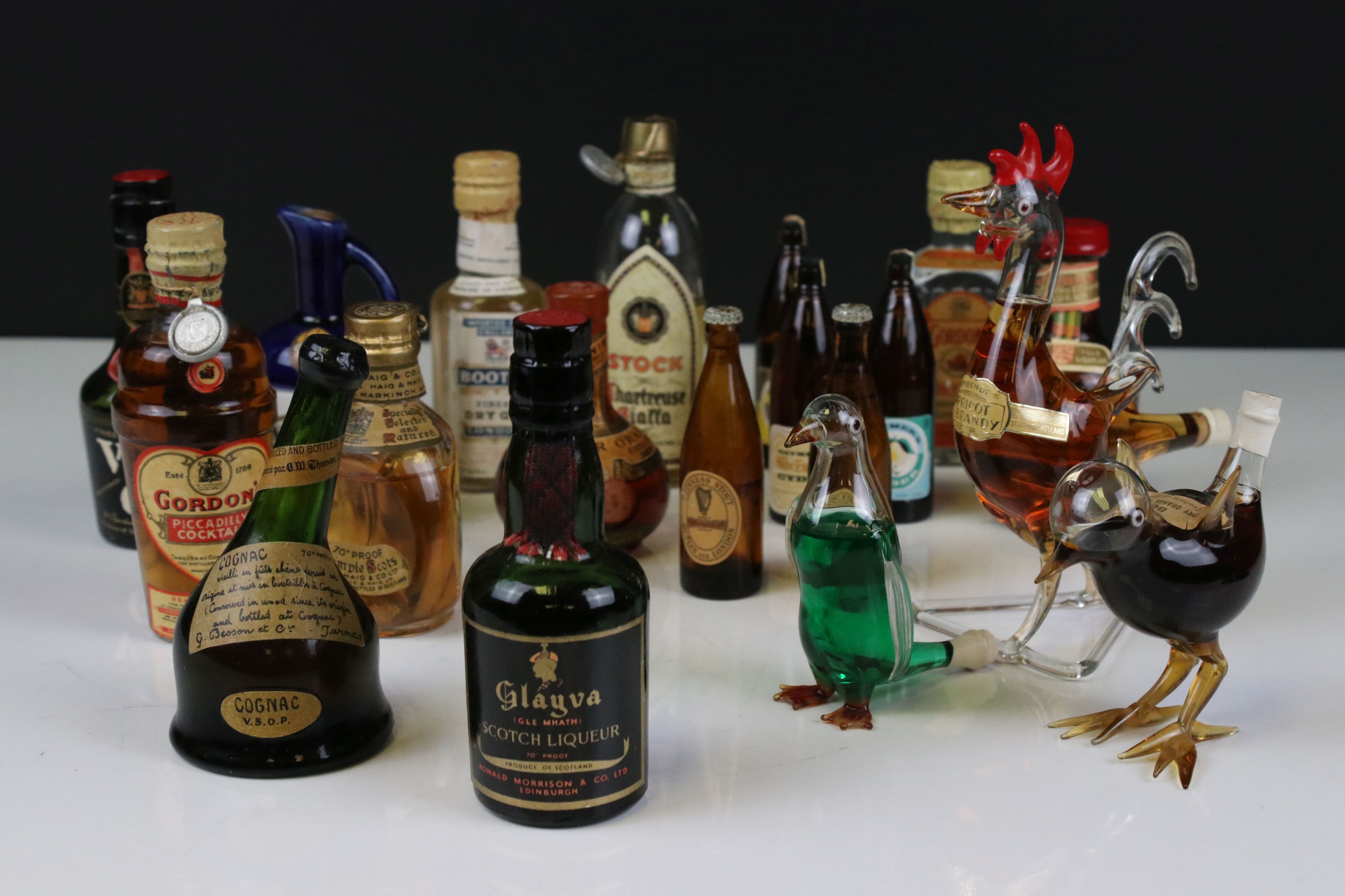 Collection of Miniature Spirits including Dimple Whisky plus Three Glass Bottles in the form of