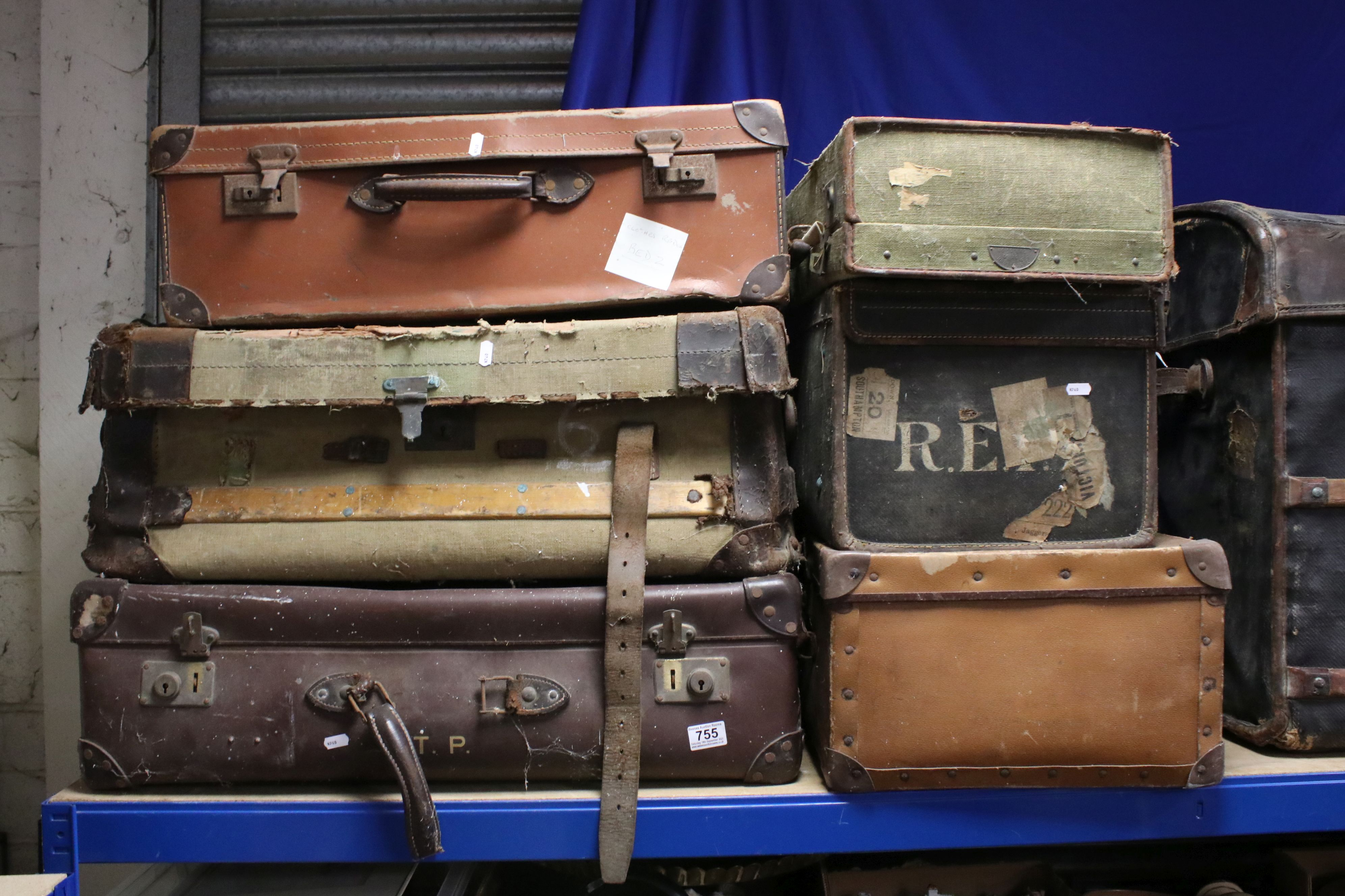 Six Early 20th century Suitcases / Travelling Trunks
