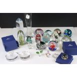 Collection of Glassware and Paerweights including Waterford ' John Rocha ' Glass Desk Clock,
