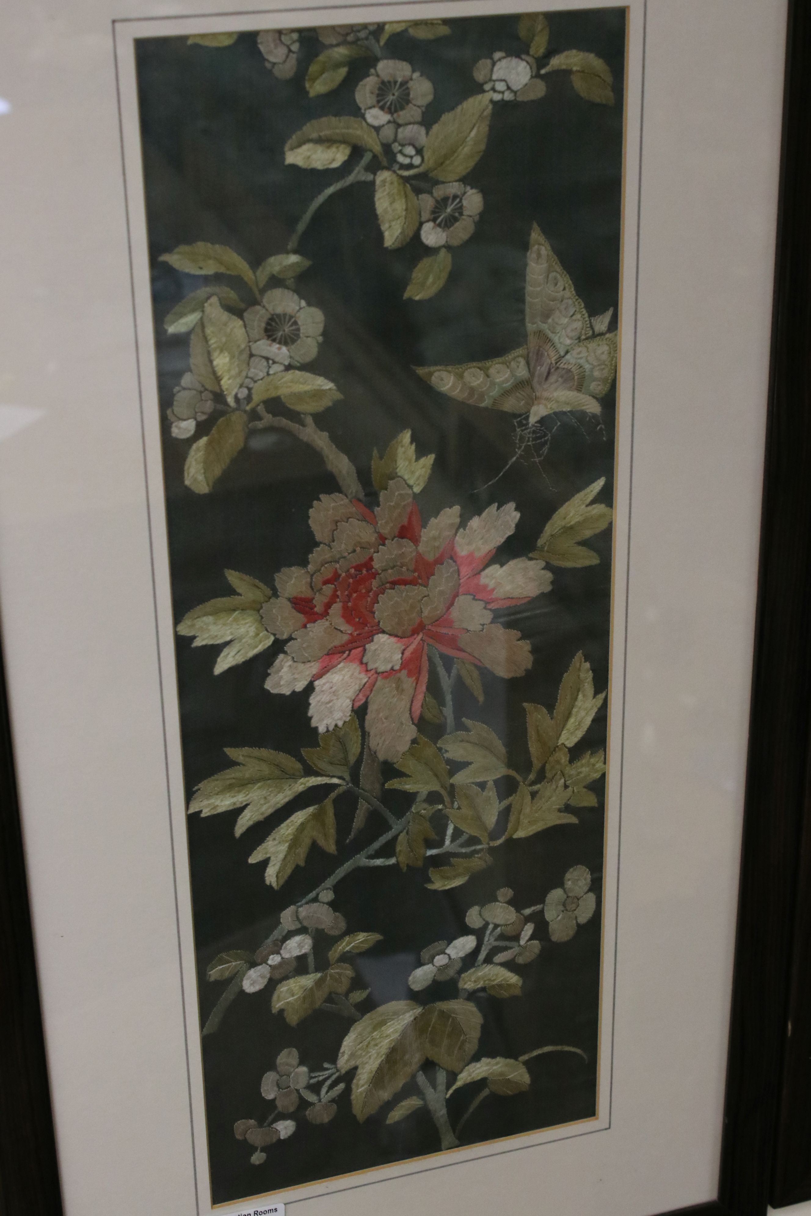 Pair of Framed and Glazed Oriental Silk Embroideries on a Green Ground depicting Butterflies and - Image 2 of 5