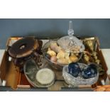 A box of mixed collectables to include brass candlesticks, a wooden tray and a quantity of silver