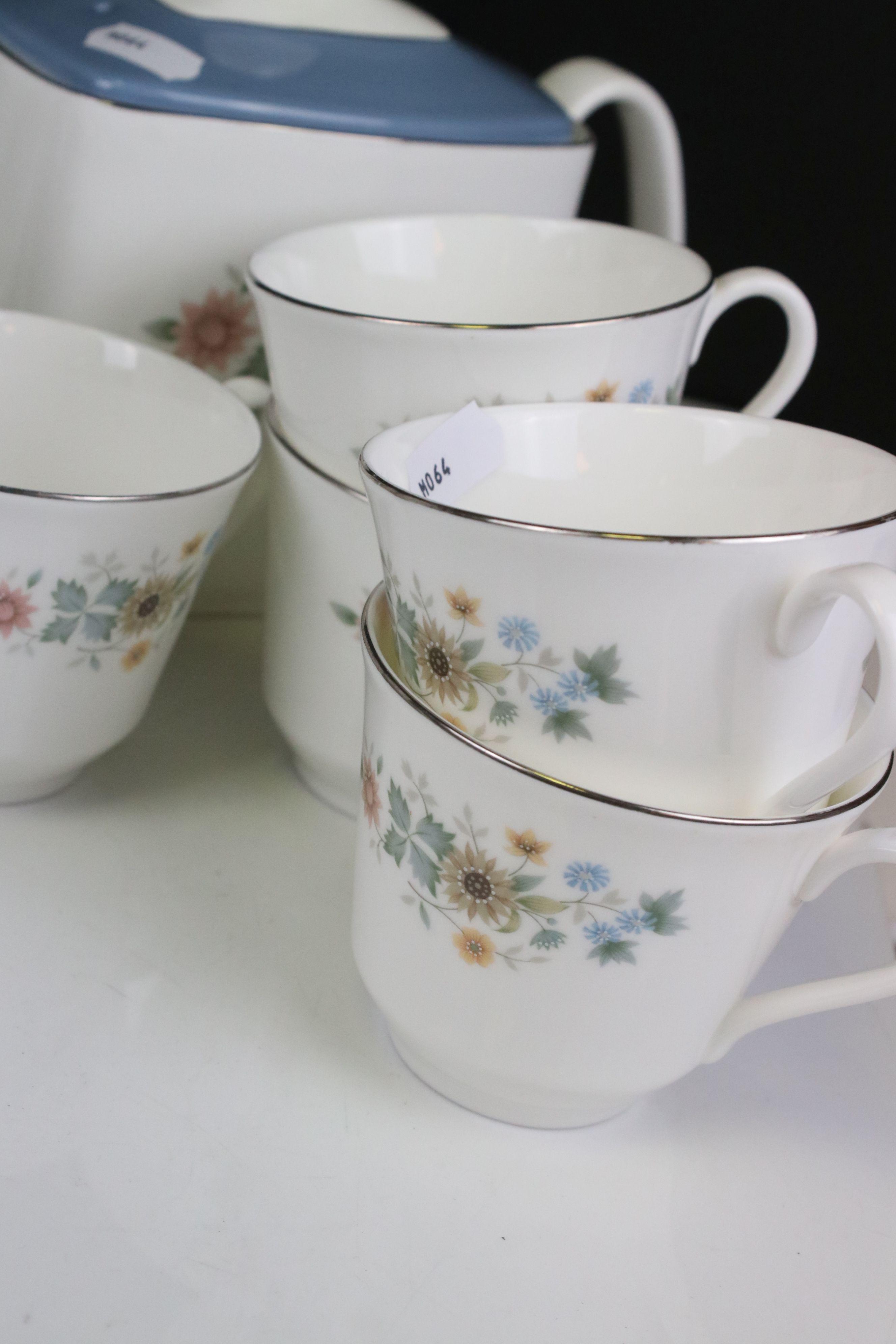 Royal Doulton ' Pastorale ' Tea Set comprising Two Teapots, Milk, Sugar, 6 Cups and 7 Saucers - Image 4 of 7