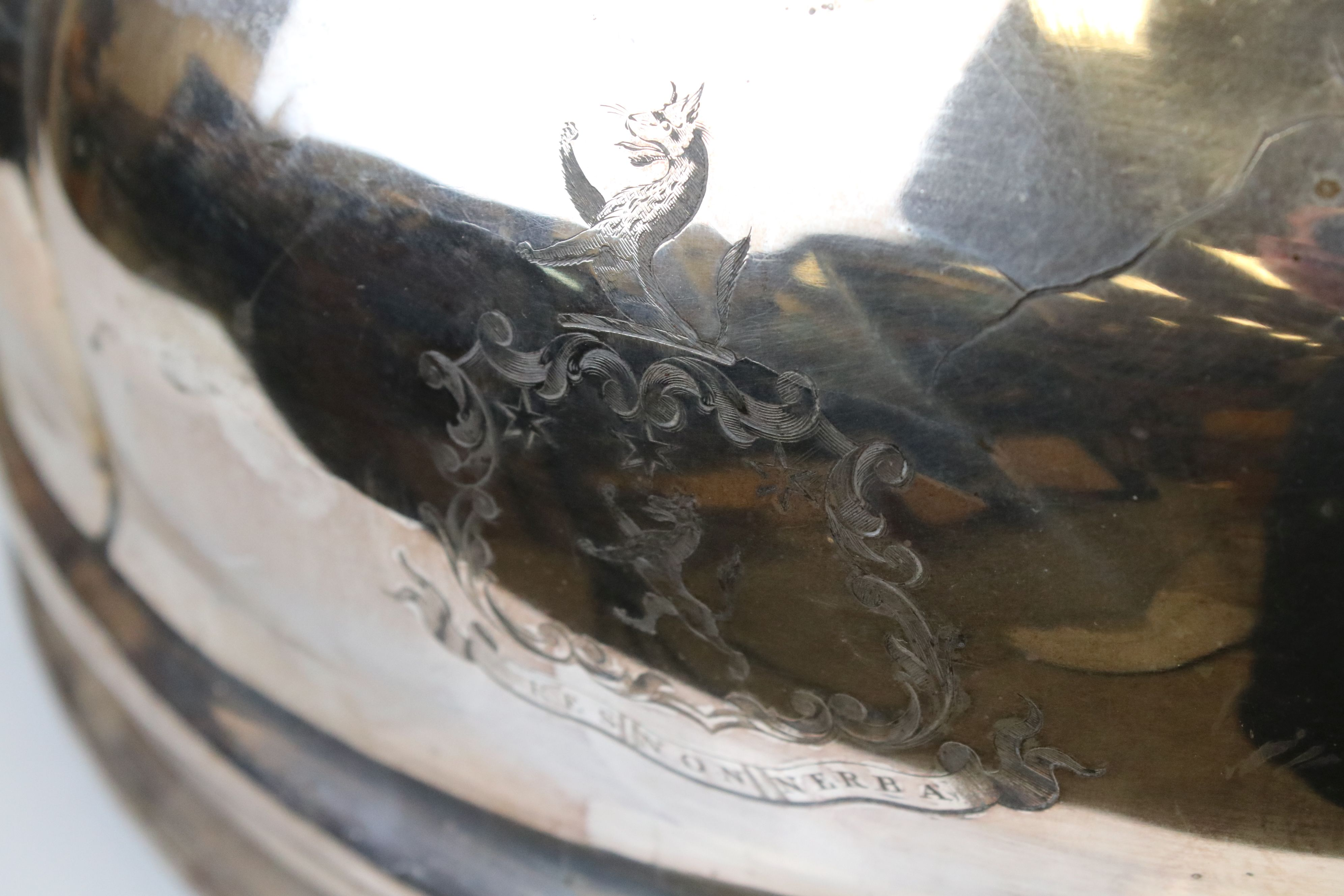 Large Silver Plated Cloche, the handle cast in the form of an Elephant, engraved with an armorial - Image 4 of 4