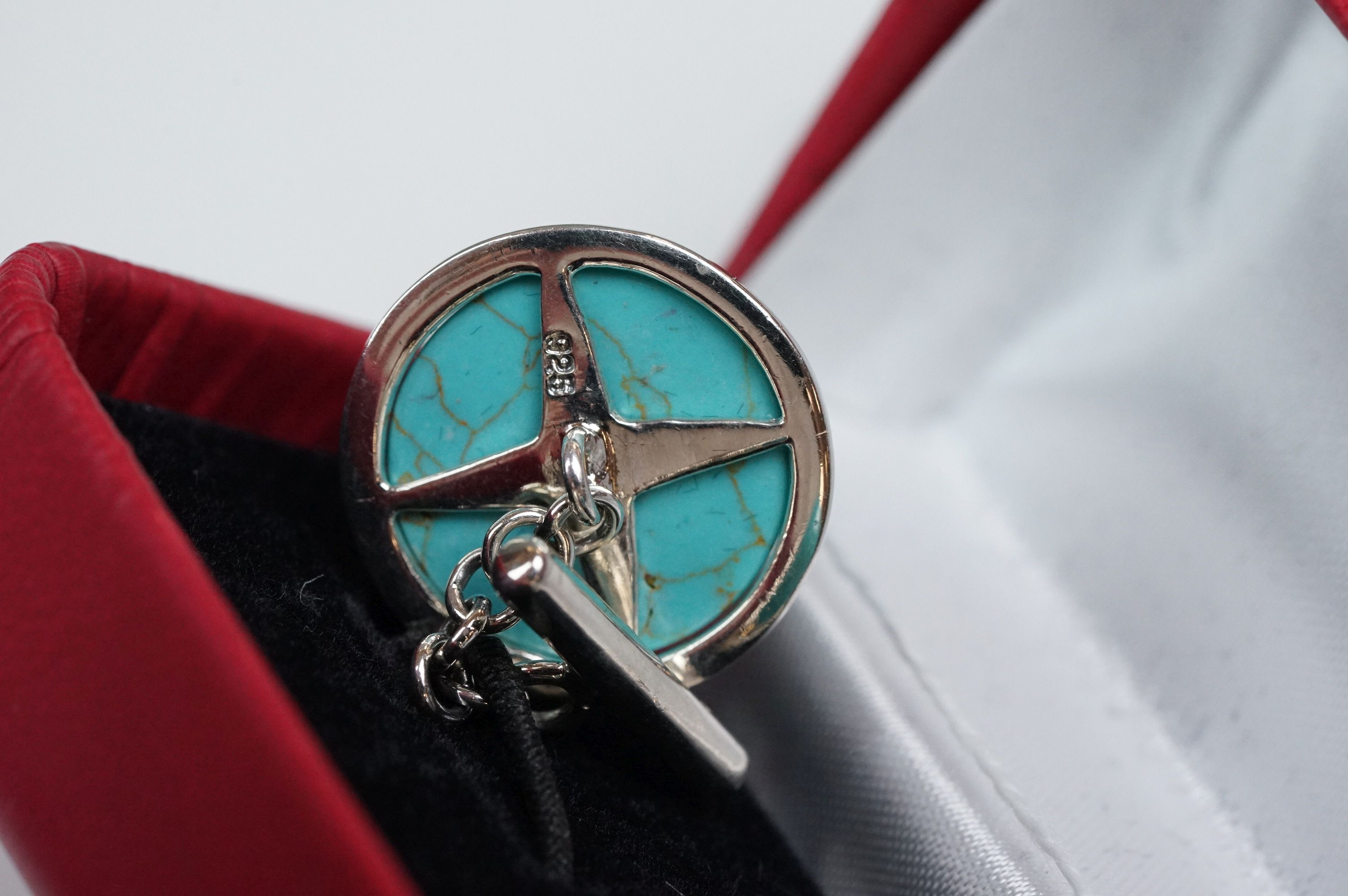 Pair of silver and turquoise set cufflinks, stamped 925 - Image 4 of 5