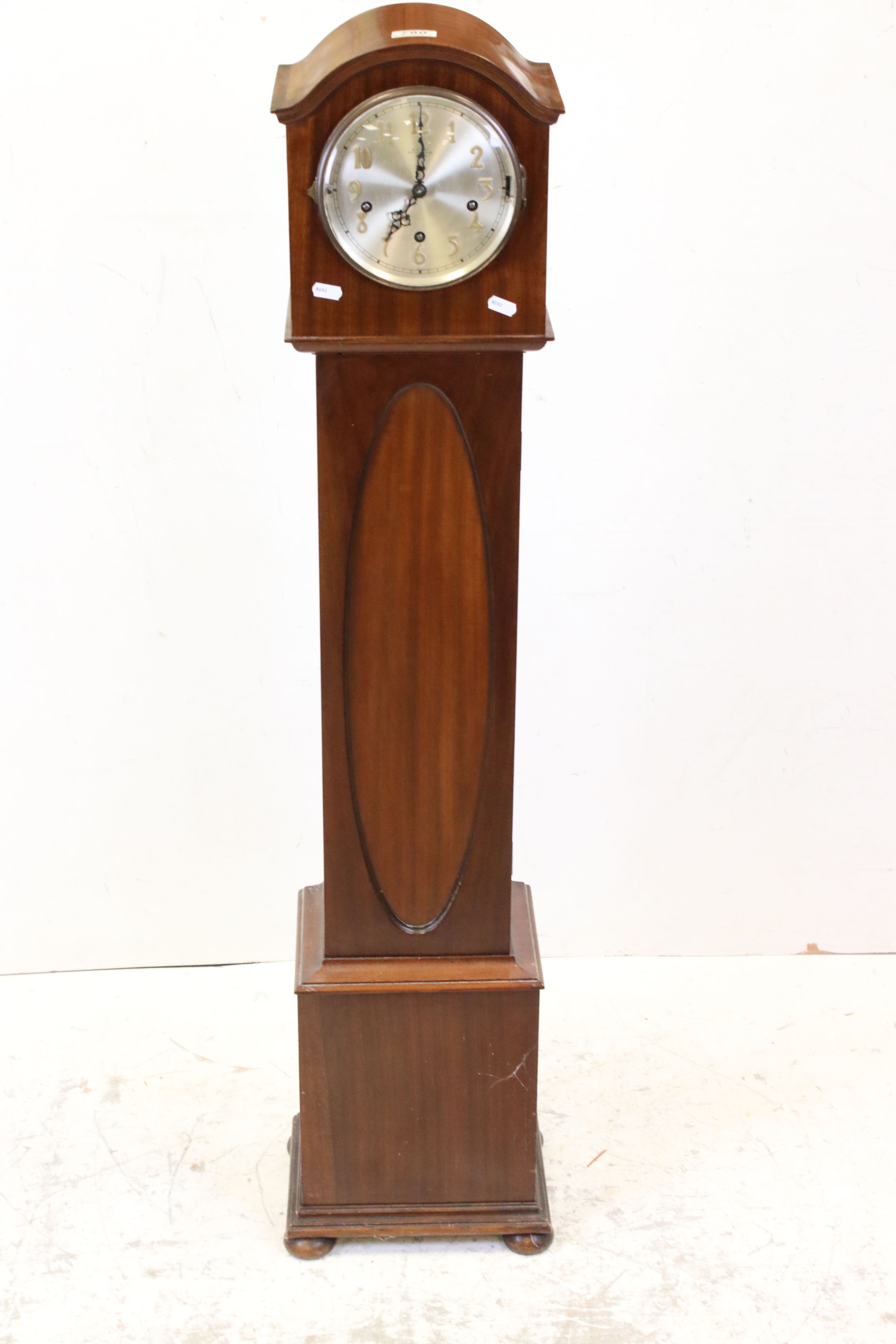 Early 20th century Mahogany Cased Grandmother Clock, the silvered face with Arabic numerals and