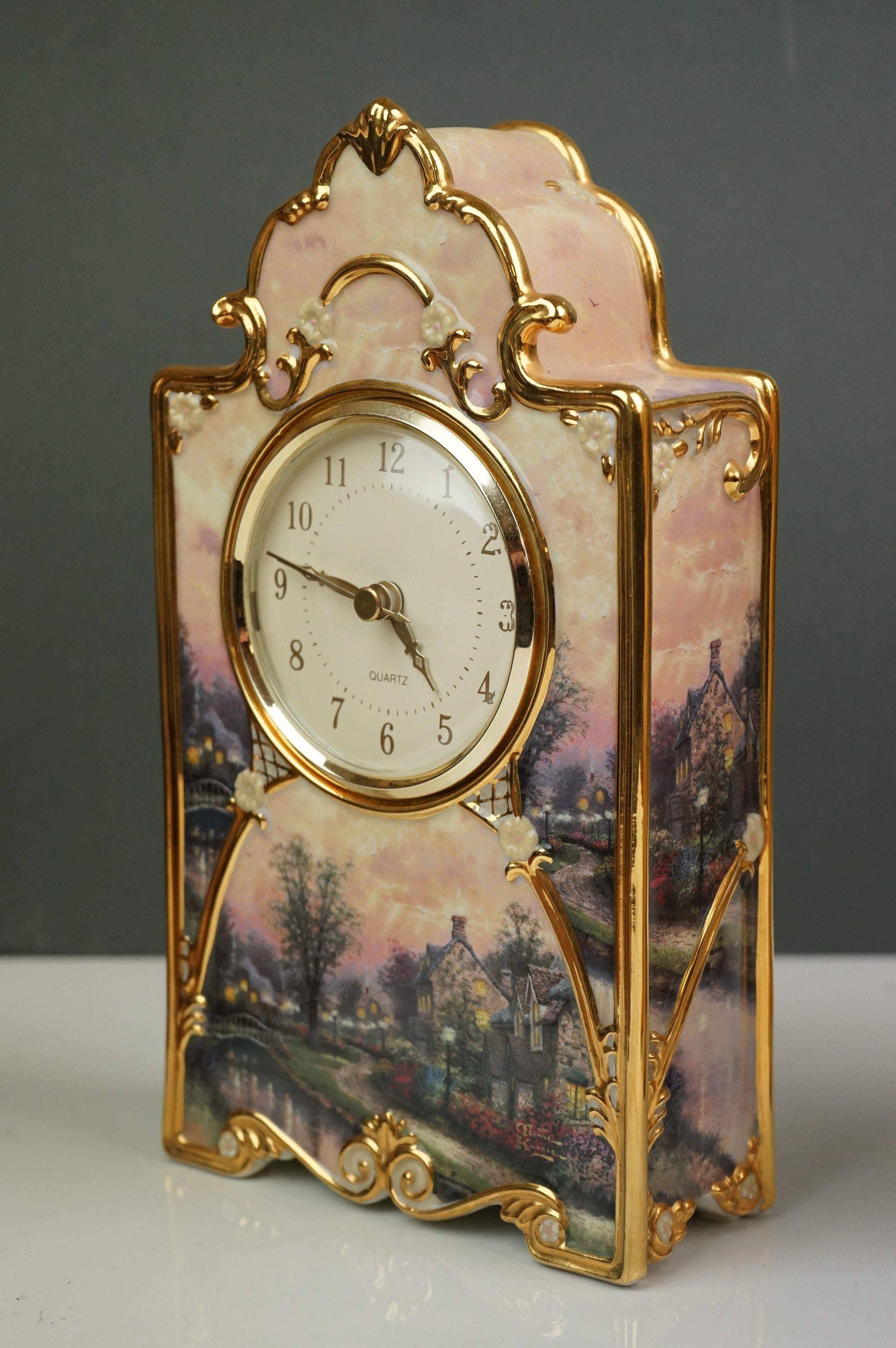 Bradford Exchange Lamplight Lane Heirloom porcelain clock by Thomas Kinkade, issue no. A9321, - Image 4 of 9