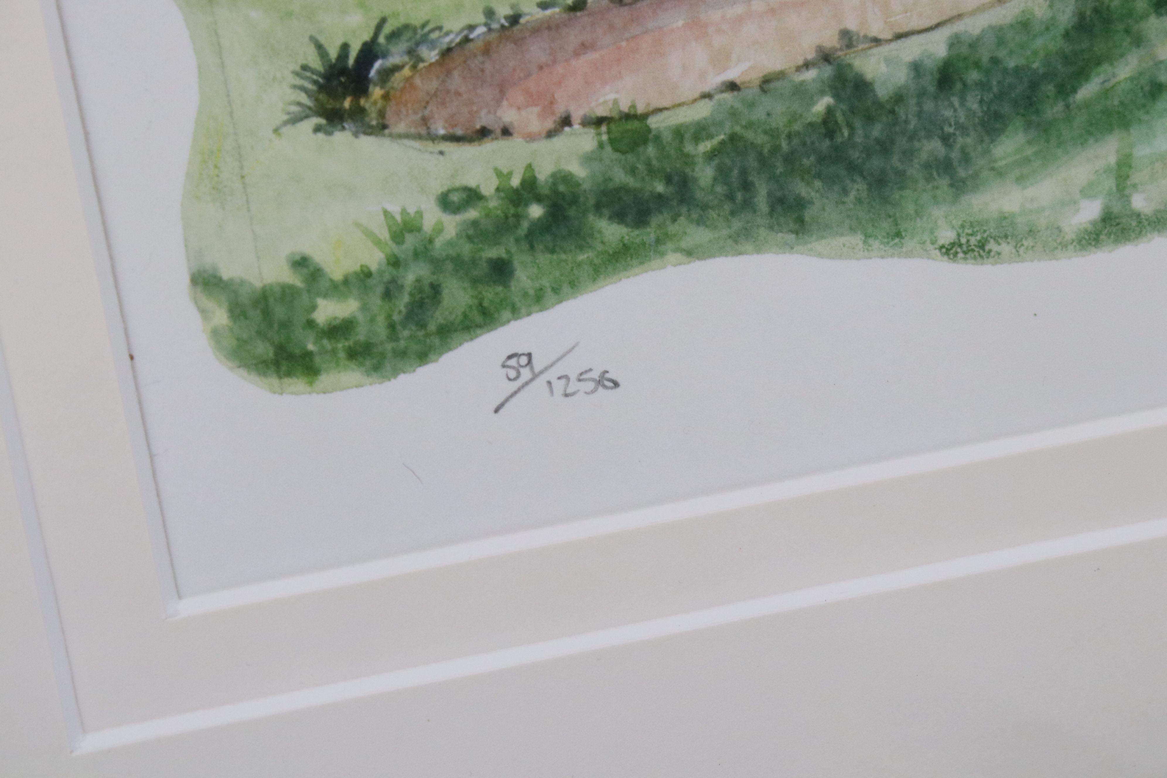 Tim Bulmer (cartoonist) a pair of humorous tennis watercolour cartoons & a signed Angela Fielder - Image 3 of 7