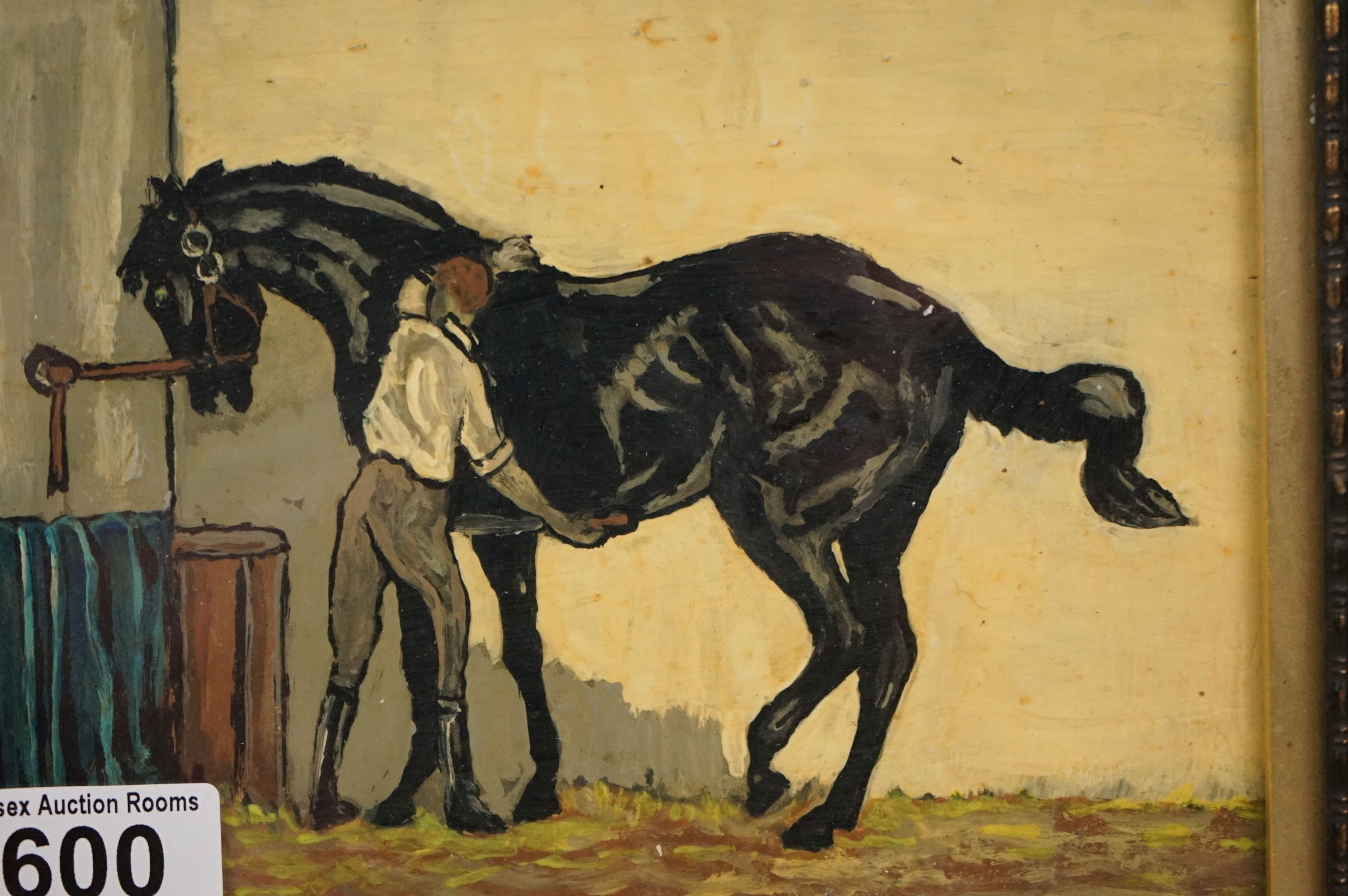 Oil painting of a racehorse and groom - Image 2 of 3