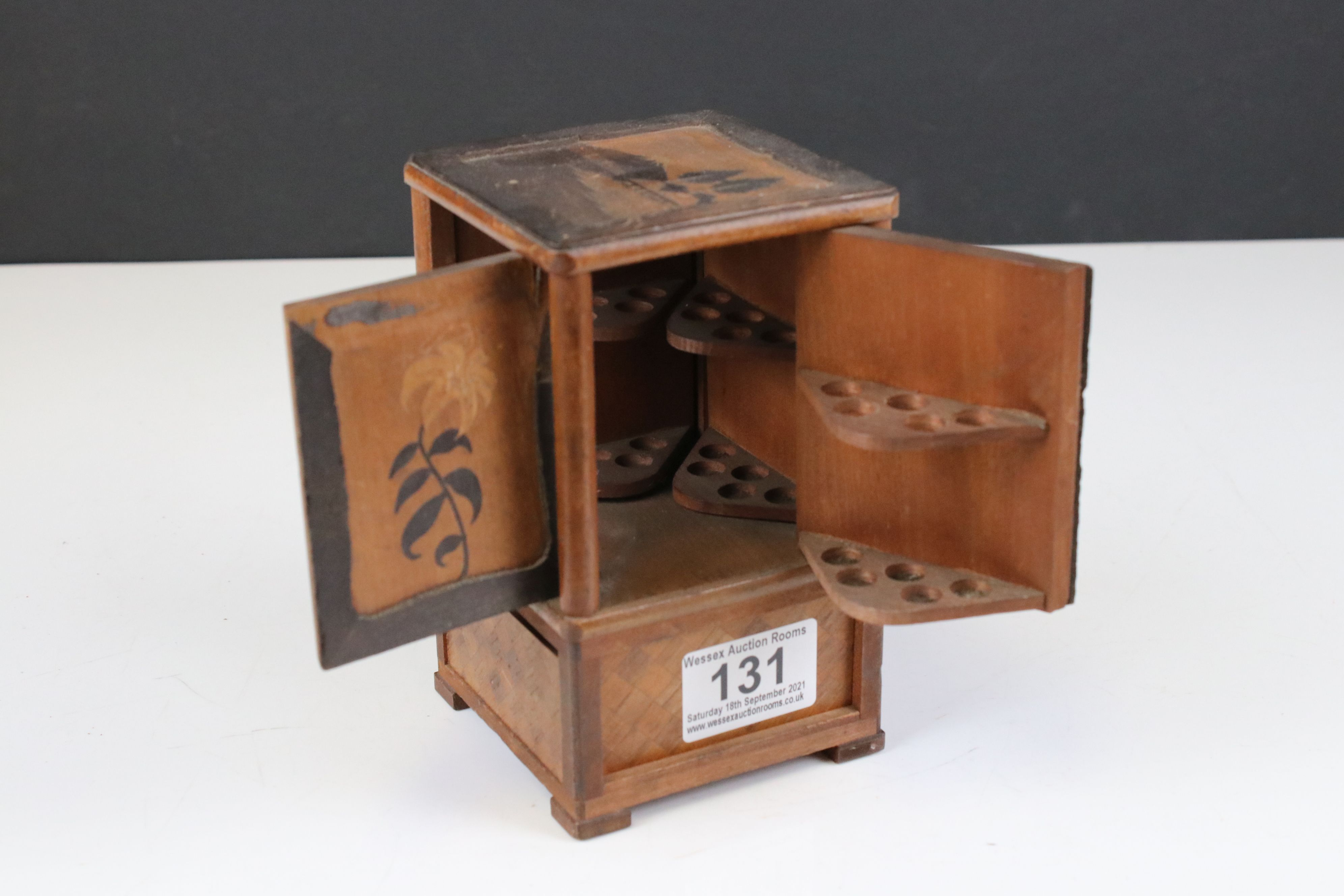 Japanese Wooden Inlaid Table Cigarette Dispenser, decorated with scenes of Mount Fuji, Flowers and