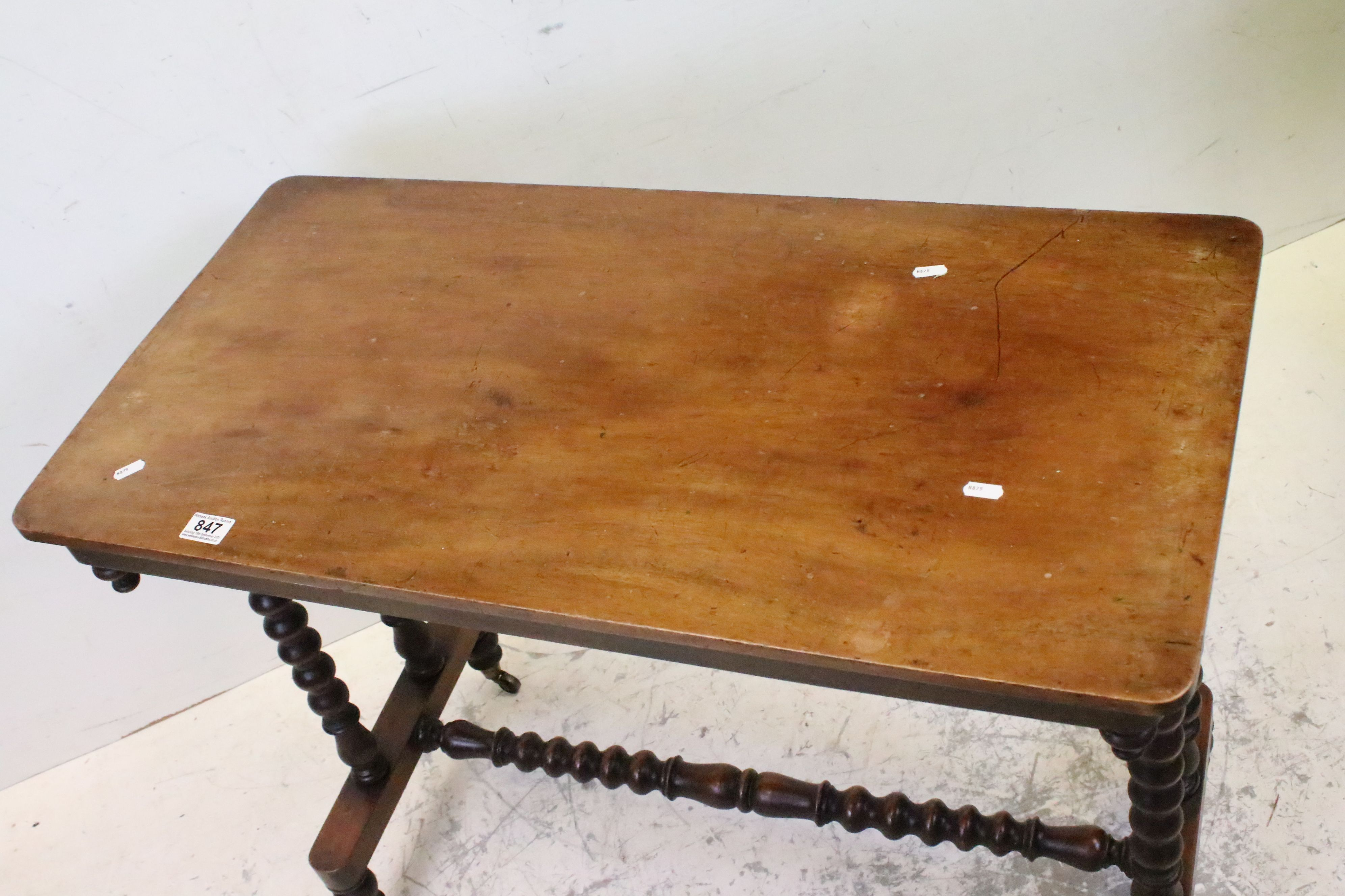 Victorian Mahogany Side Table raised on bobbin supports and cross-stretcher, raised on castors, - Image 2 of 5