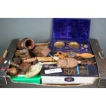 A large group of mixed collectables to include Treen, collectors spoons and vintage brass scales.