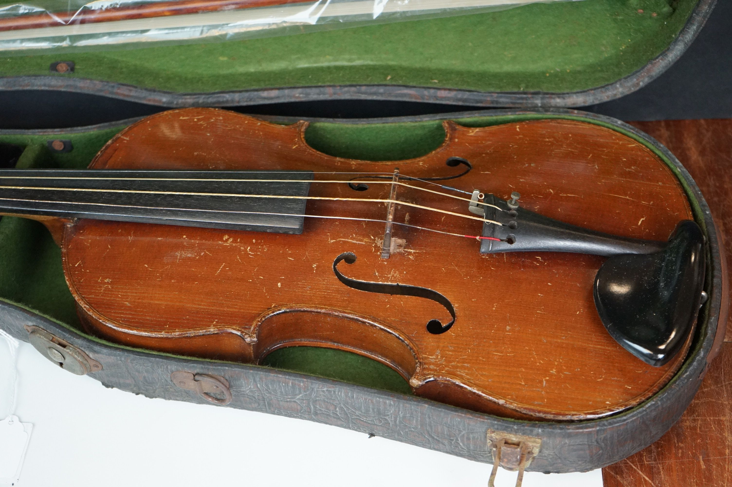 Violin with Two Bows in a Vintage Snakeskin effect case - Image 2 of 7
