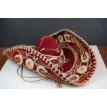 Vintage Sombrero Velvet Hat by J Jesus Linan San Francisco