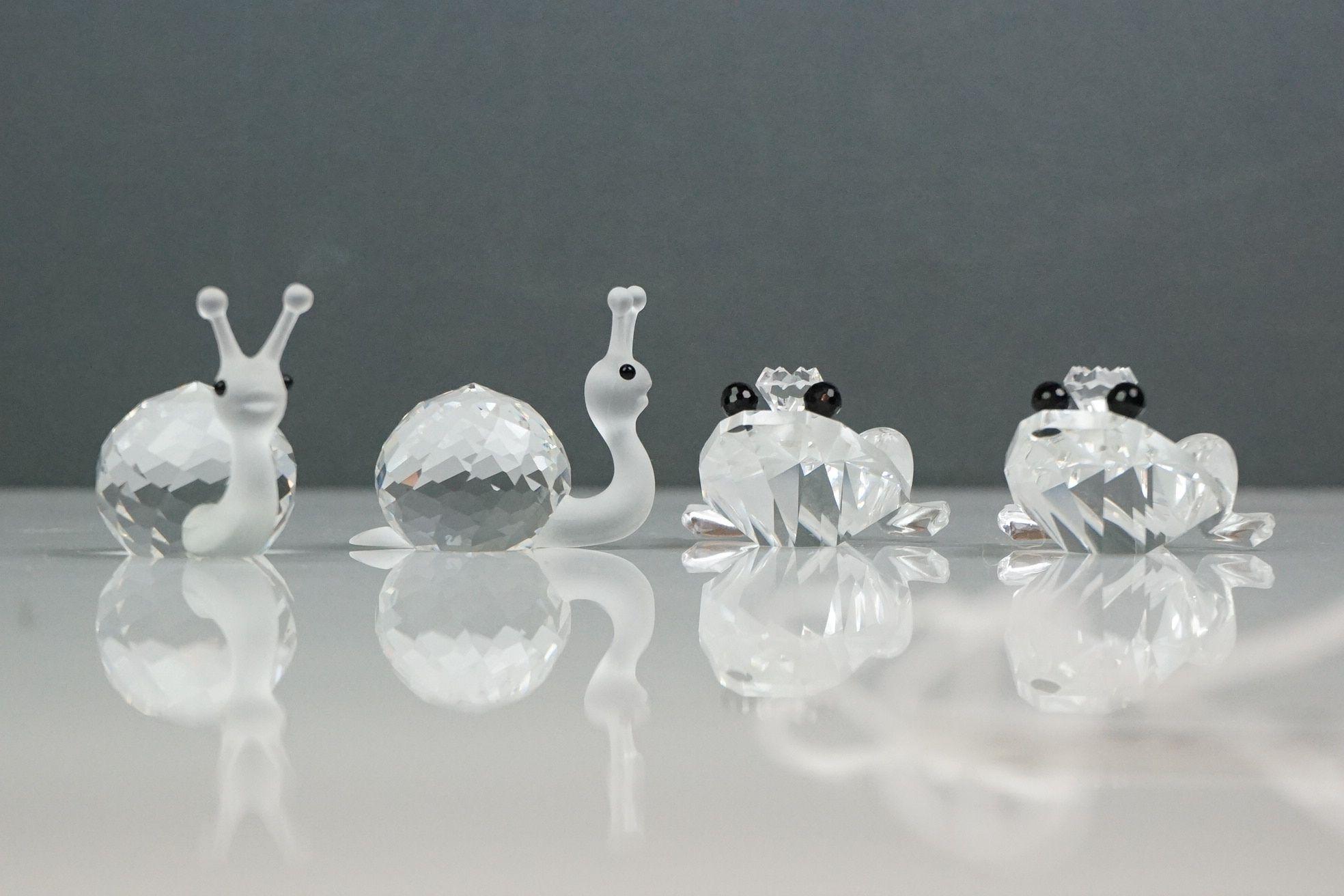 Two Swarovski crystal snails and two Swarovski crystal frogs (2)