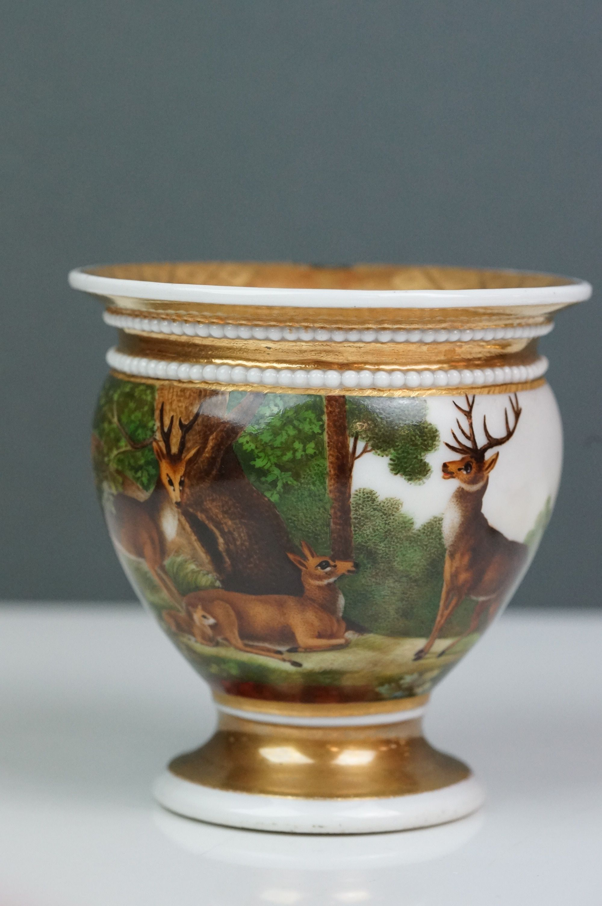 Pair of hand painted Dresden cups, each depicting a different scene: castle and lake scene with - Image 9 of 10